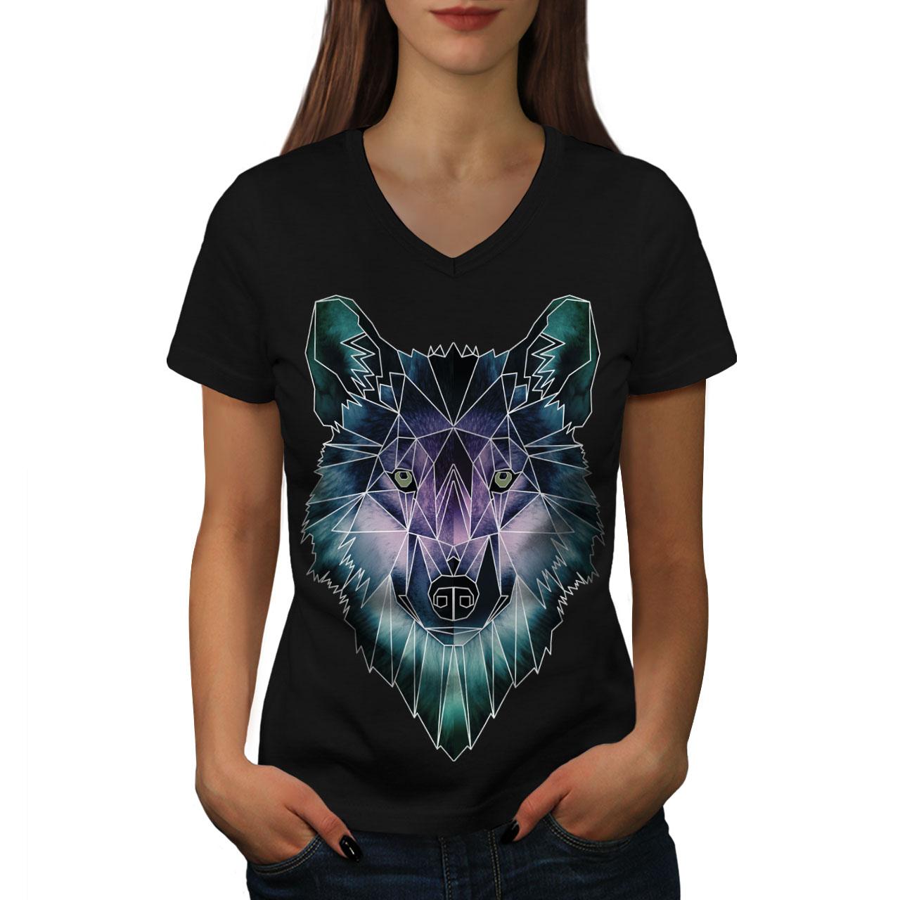 Wellcoda-Psychodelic-Wolf-Womens-V-Neck-T-shirt-Crystal-Graphic-Design-Tee thumbnail 3