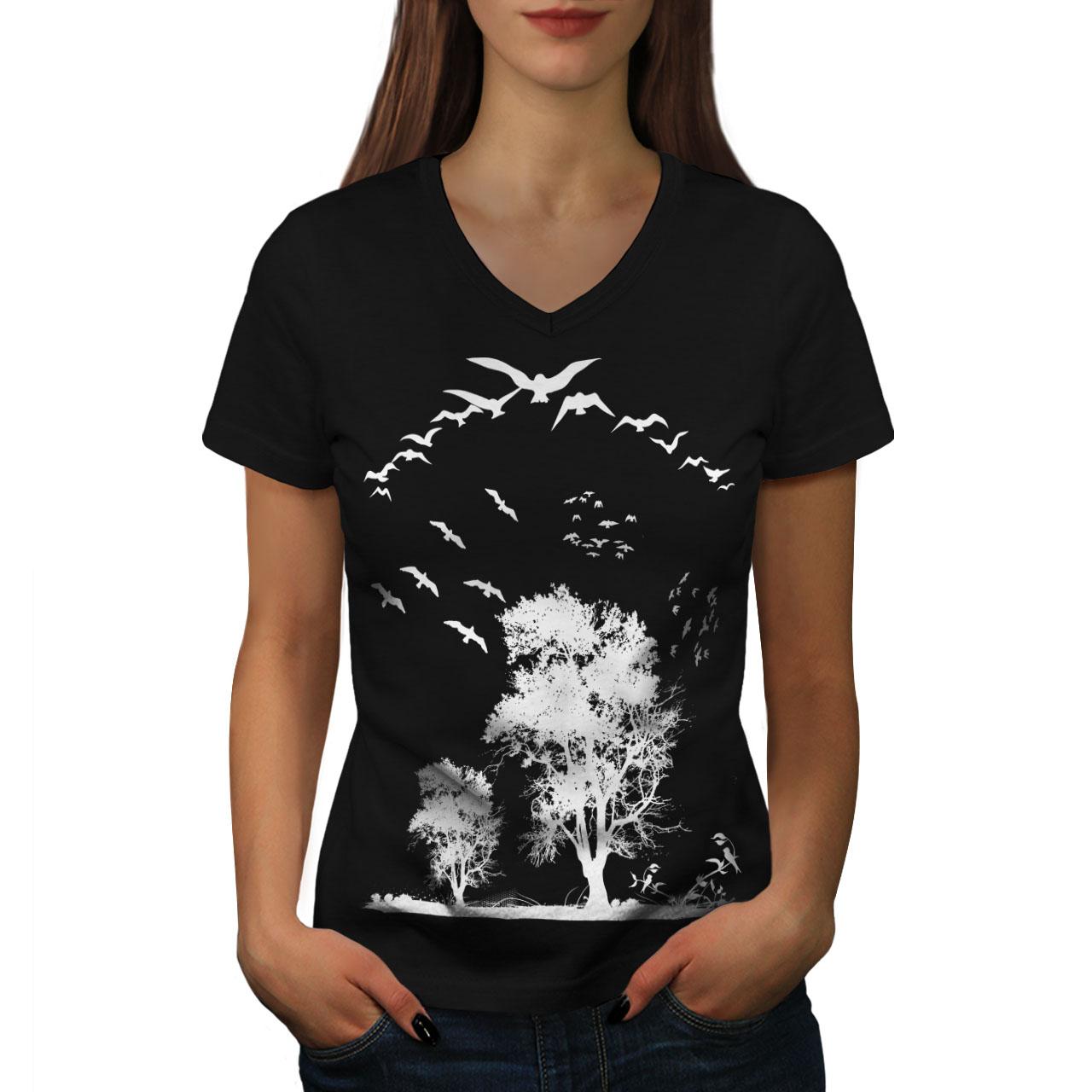 Custom Womens T-Shirt Dove Birds Flying Peace Freedom Nature