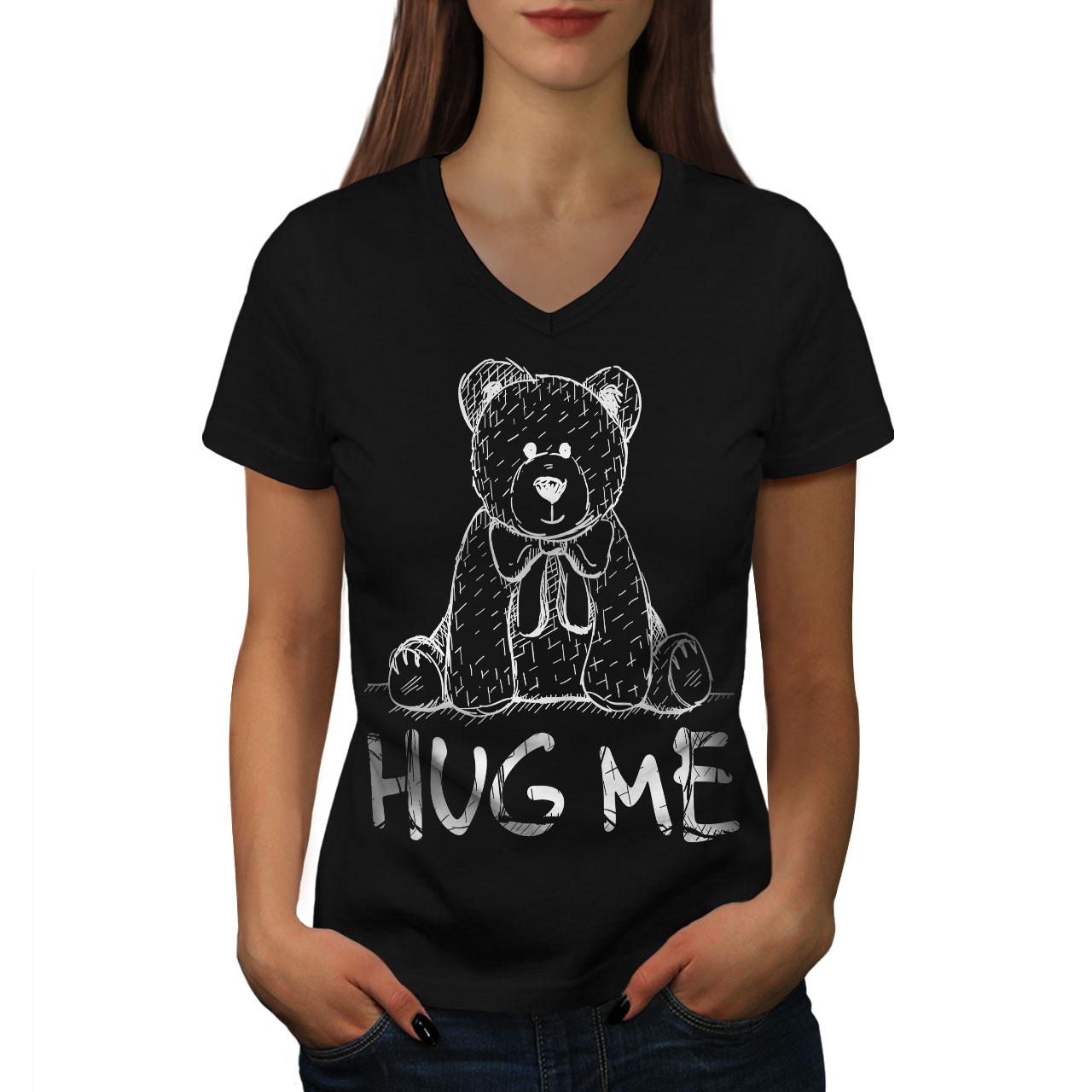 miniature 3 - Wellcoda Hug Me Teddy Bear Womens V-Neck T-shirt, Nice & Graphic Design Tee