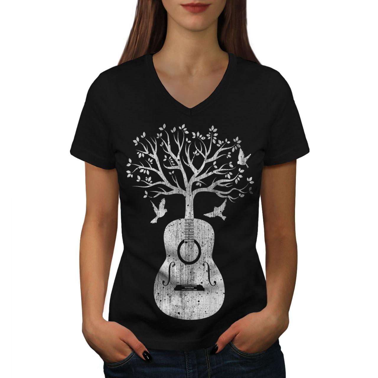 Wellcoda-Guitar-Music-Tree-Womens-V-Neck-T-shirt-Life-Graphic-Design-Tee thumbnail 3