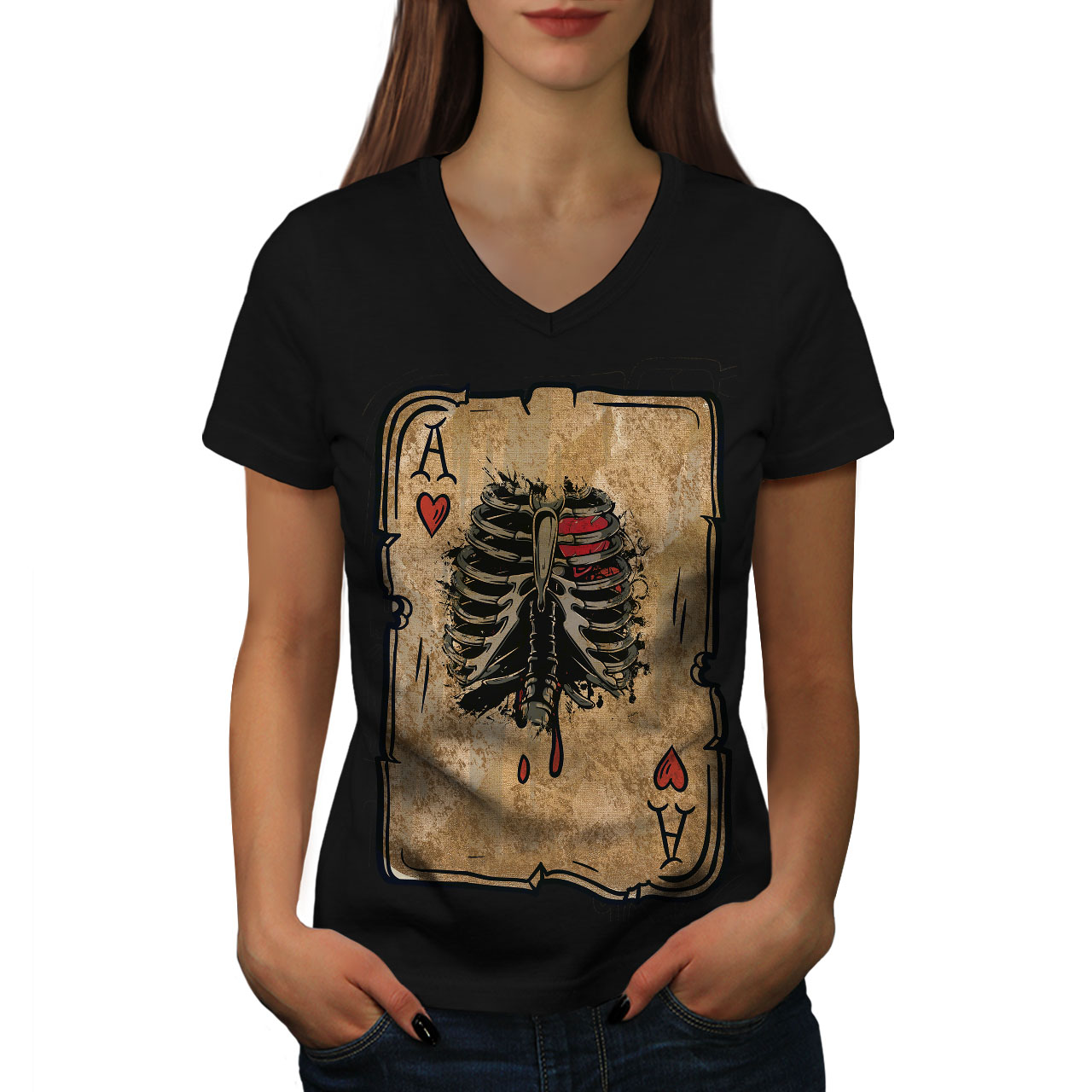 Wellcoda-Poker-Cartes-Skelet-Femme-T-Shirt-col-V-cage-thoracique-conception-graphique-Tee miniature 3