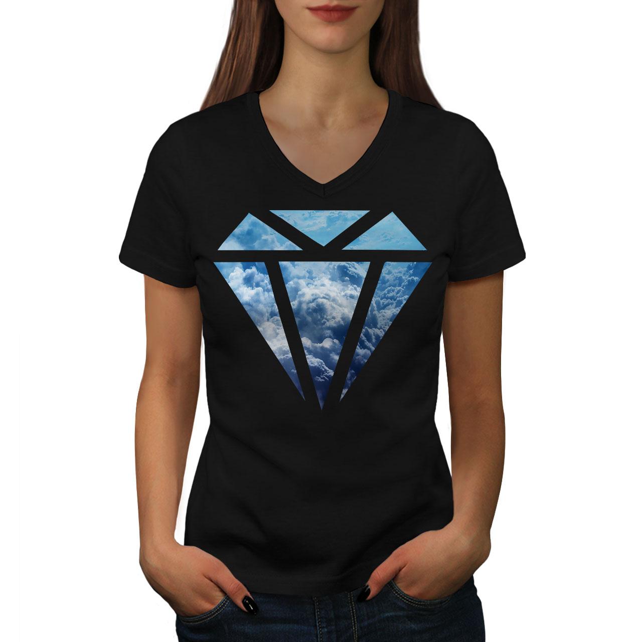 CréAtif Wellcoda Abstract Diamant Femme T-shirt Col V, élégant Design Graphique Tee-afficher Le Titre D'origine