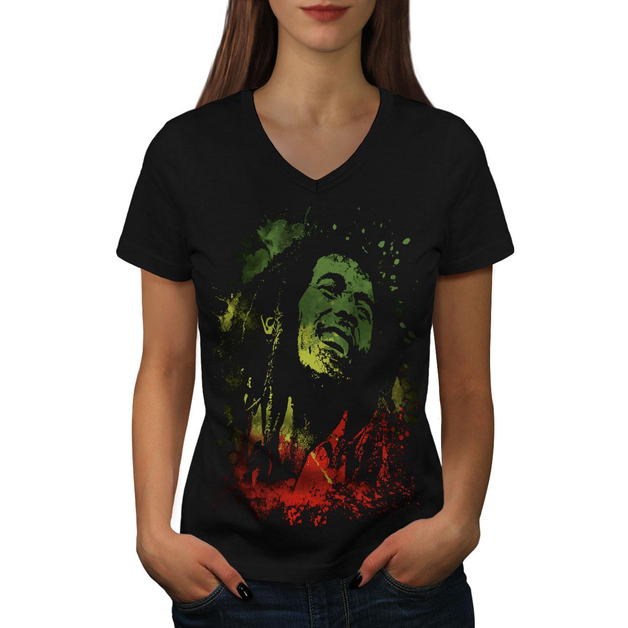 Infatigable Wellcoda Légende Bob Rasta Marley Femme T-shirt Col V, Rasta Design Graphique Tee-afficher Le Titre D'origine Correspondant En Couleur