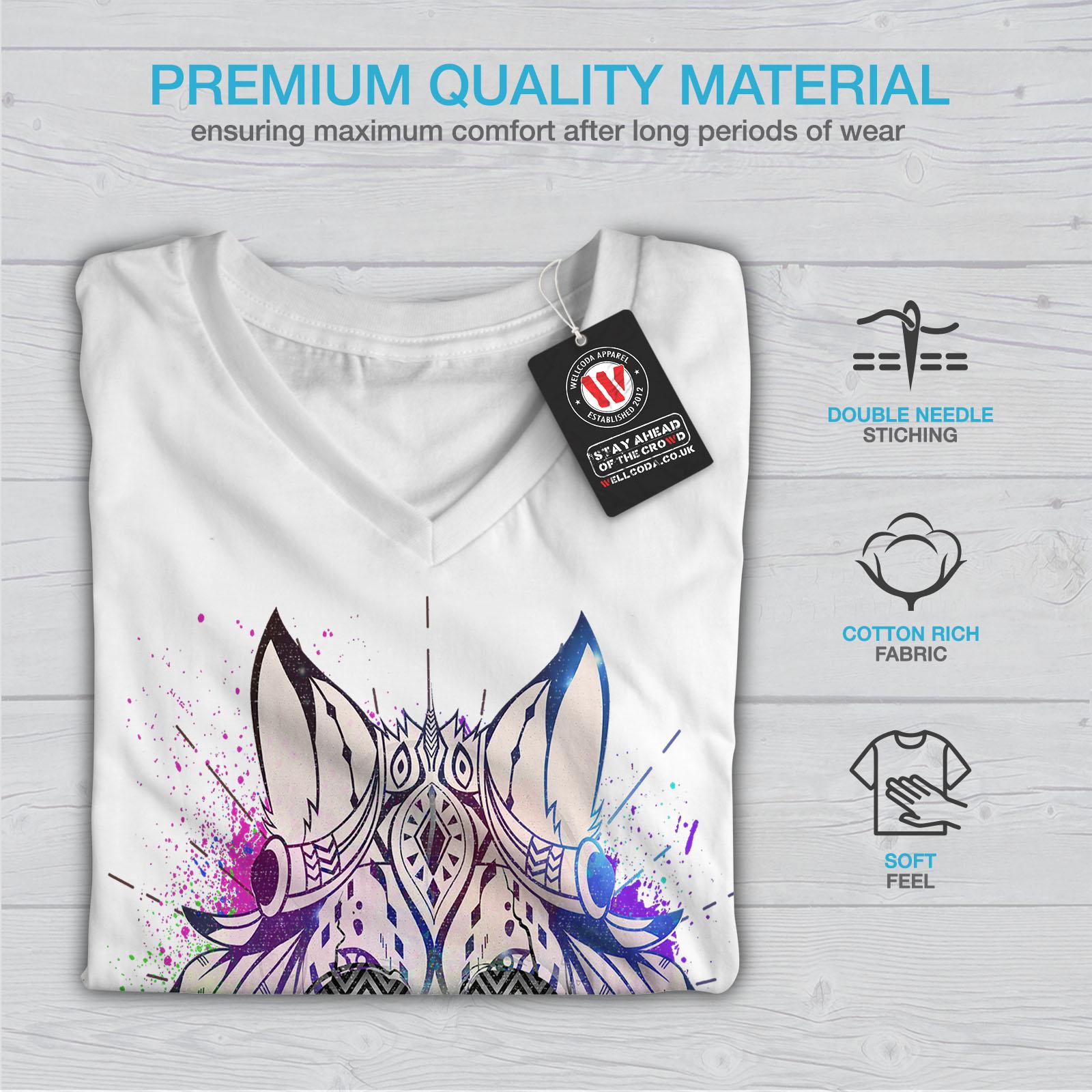 War Graphic Design Tee Wellcoda Tribal Funky Death Skull Womens V-Neck T-shirt