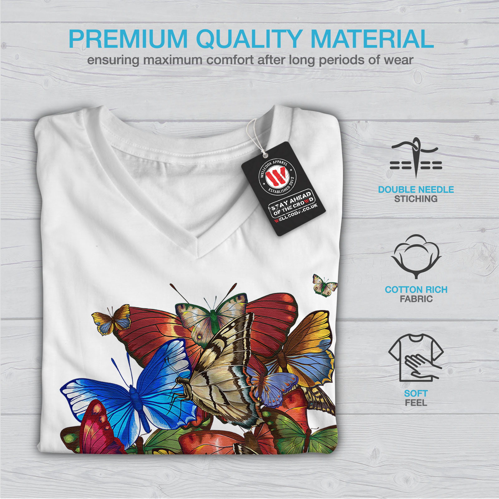 Wellcoda-Colorful-Butterfly-Womens-V-Neck-T-shirt-Freedom-Graphic-Design-Tee thumbnail 9