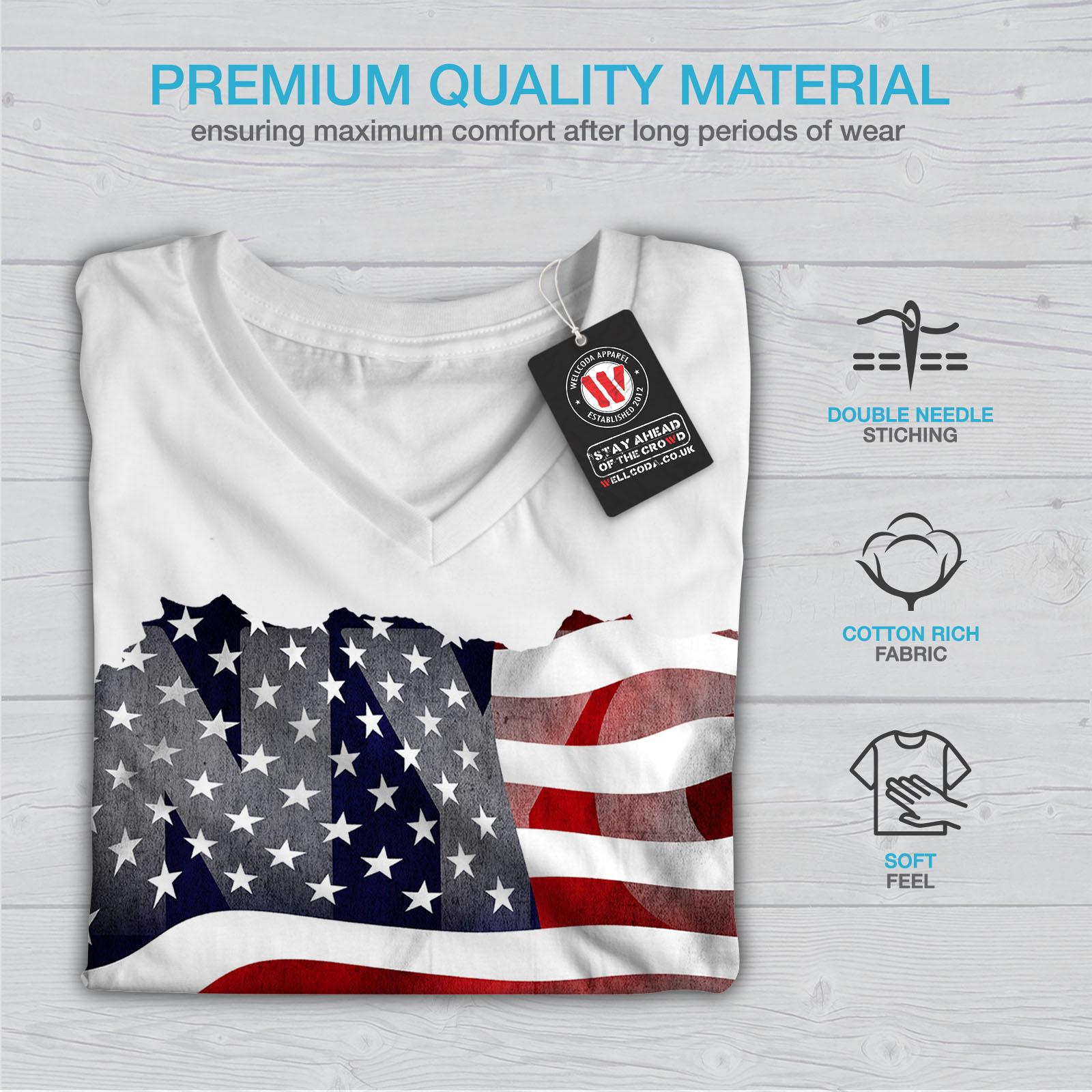 Wellcoda-New-York-City-Flag-Womens-V-Neck-T-shirt-NY-Graphic-Design-Tee thumbnail 9