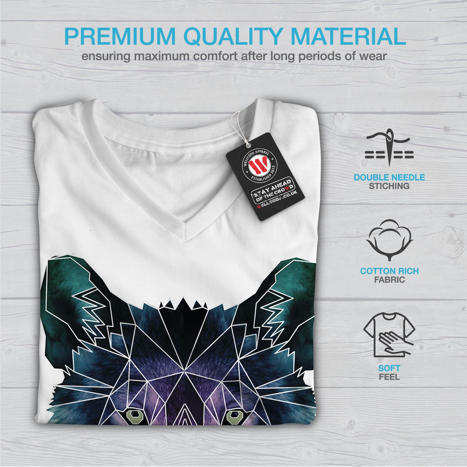 Wellcoda-Psychodelic-Wolf-Womens-V-Neck-T-shirt-Crystal-Graphic-Design-Tee thumbnail 9