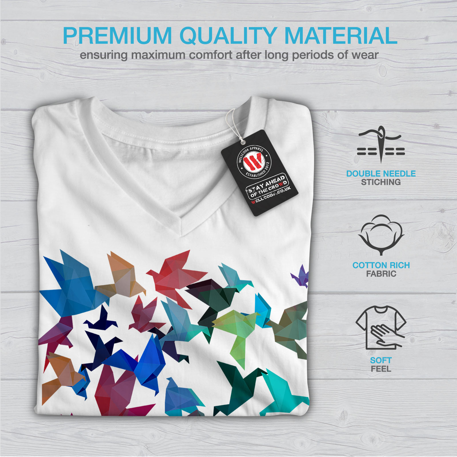 Wellcoda-Origami-Bird-Colors-Womens-V-Neck-T-shirt-Craft-Graphic-Design-Tee thumbnail 9