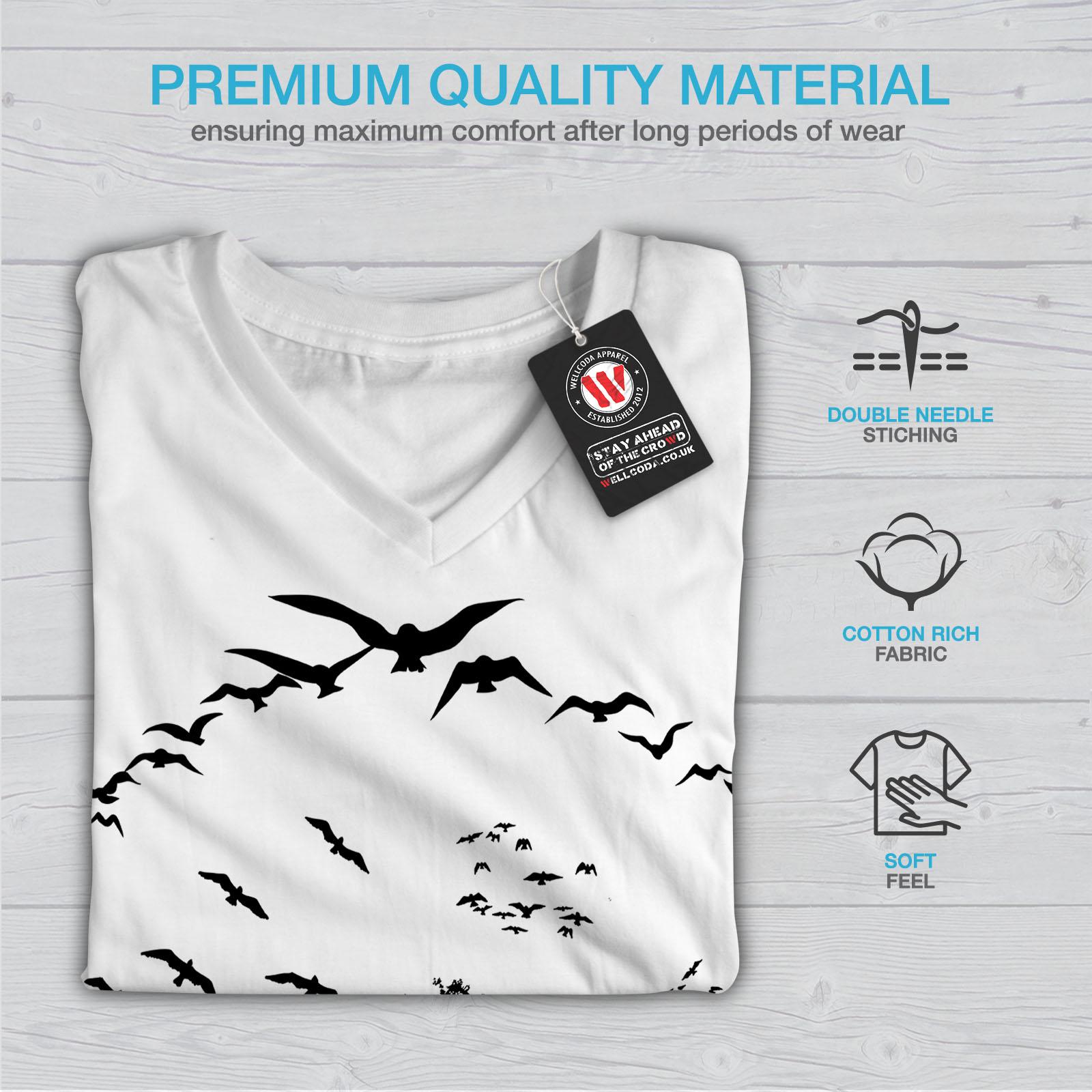 thumbnail 9 - Wellcoda-Bird-Freedom-Fly-Womens-V-Neck-T-shirt-Nature-Graphic-Design-Tee
