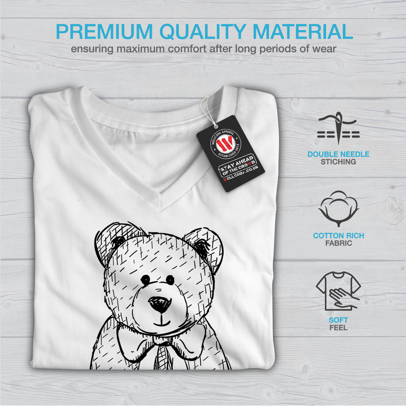 miniature 9 - Wellcoda Hug Me Teddy Bear Womens V-Neck T-shirt, Nice & Graphic Design Tee