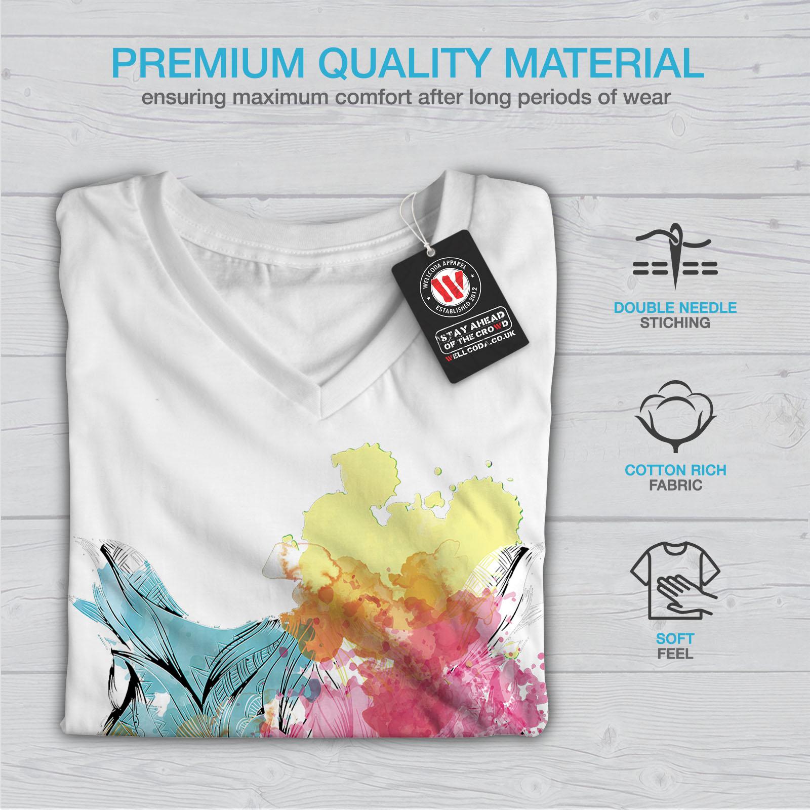 Wellcoda-Elegante-Owl-Bird-da-donna-V-Neck-T-shirt-bellissimo-design-Grafico-Tee miniatura 9
