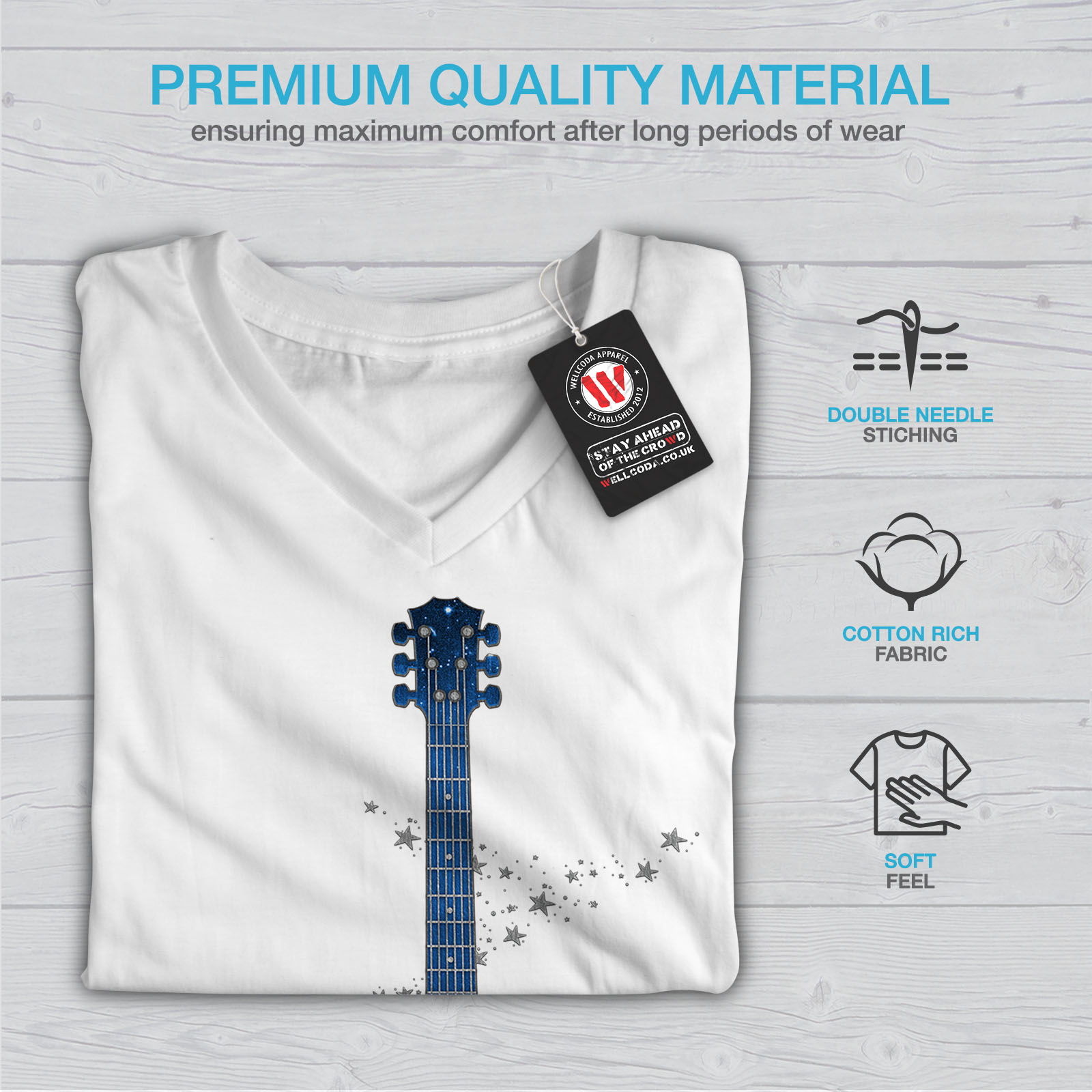 Wellcoda-Guitar-Planet-Earth-Womens-V-Neck-T-shirt-Rock-Graphic-Design-Tee thumbnail 9