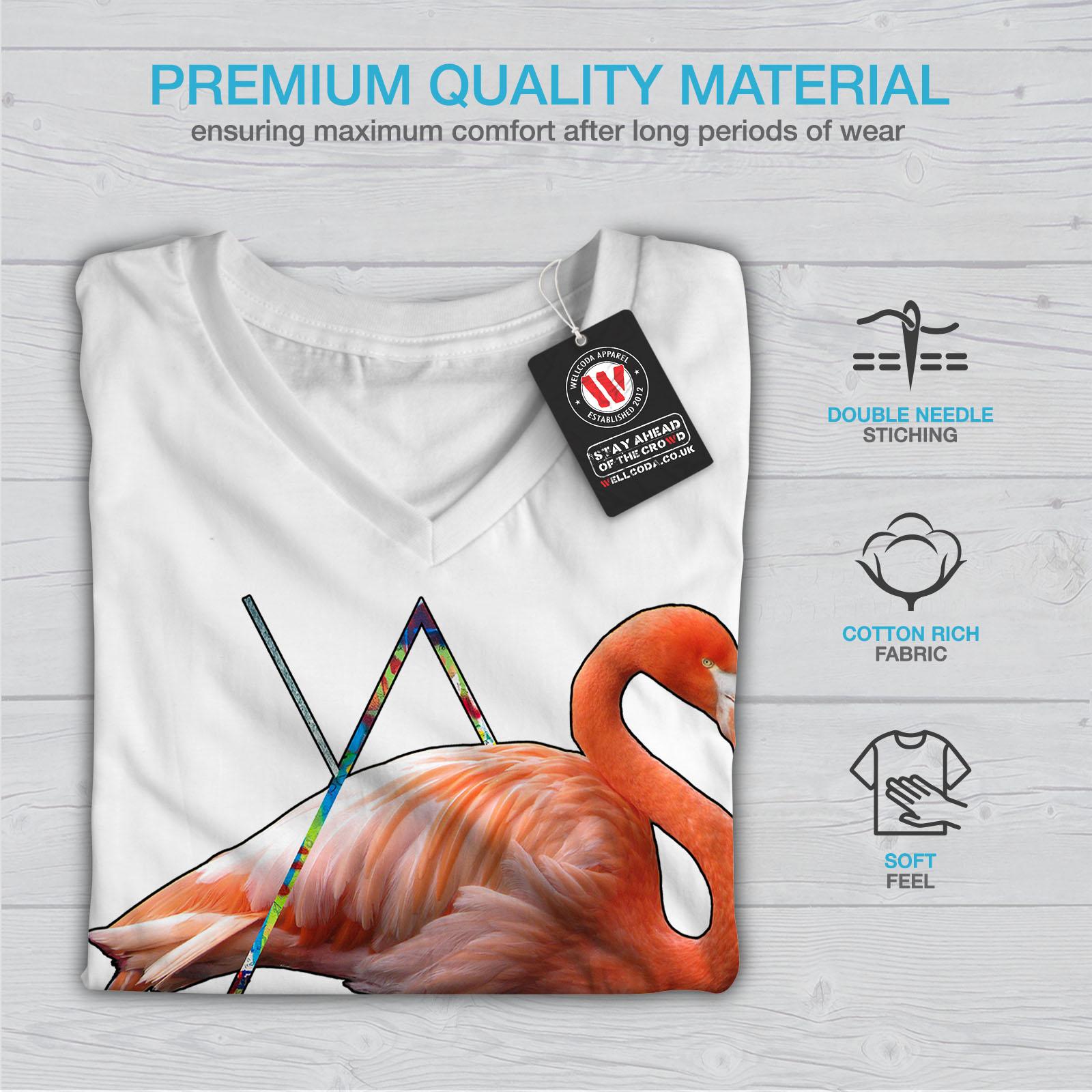 Wellcoda-Flamingo-Bird-Shoe-Womens-V-Neck-T-shirt-Sneaker-Graphic-Design-Tee thumbnail 9