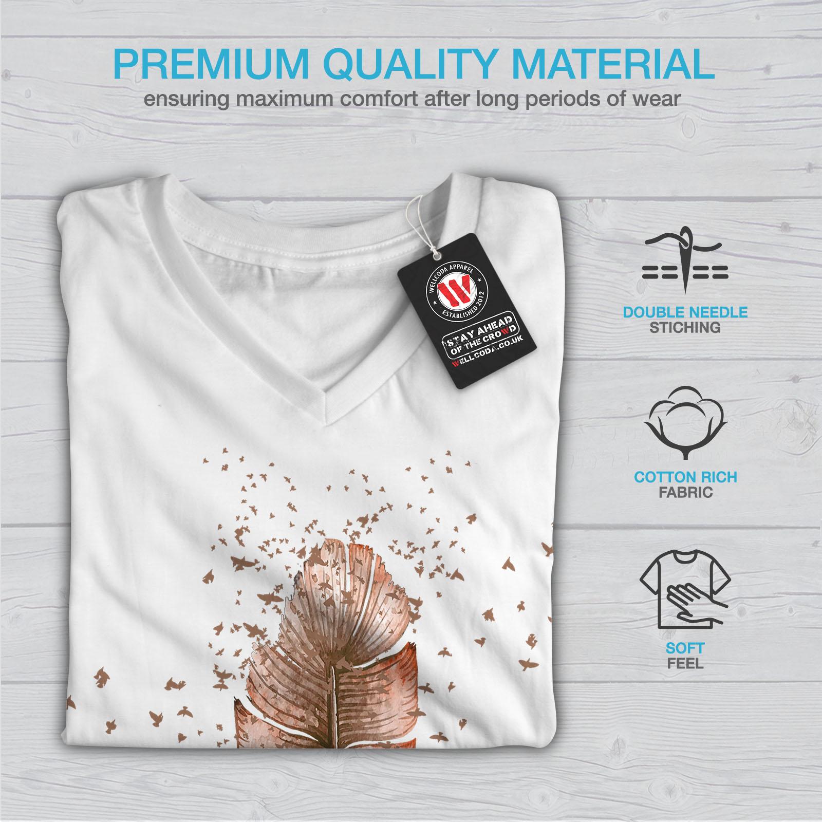 Wellcoda-Soft-Bird-Feather-Womens-V-Neck-T-shirt-Delicate-Graphic-Design-Tee thumbnail 9