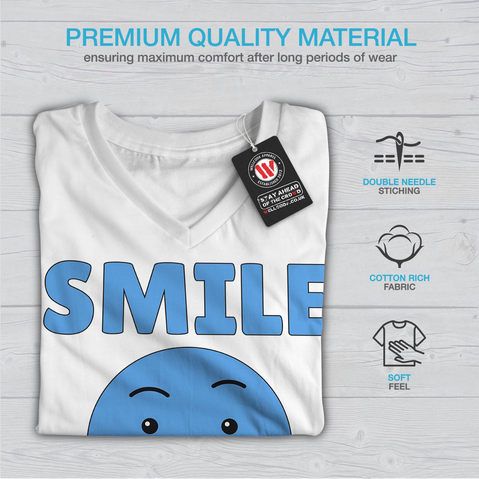 Wellcoda-Laecheln-Feinde-Angry-Damen-V-Ausschnitt-T-Shirt-Kampf-Grafikdesign-Tee Indexbild 9