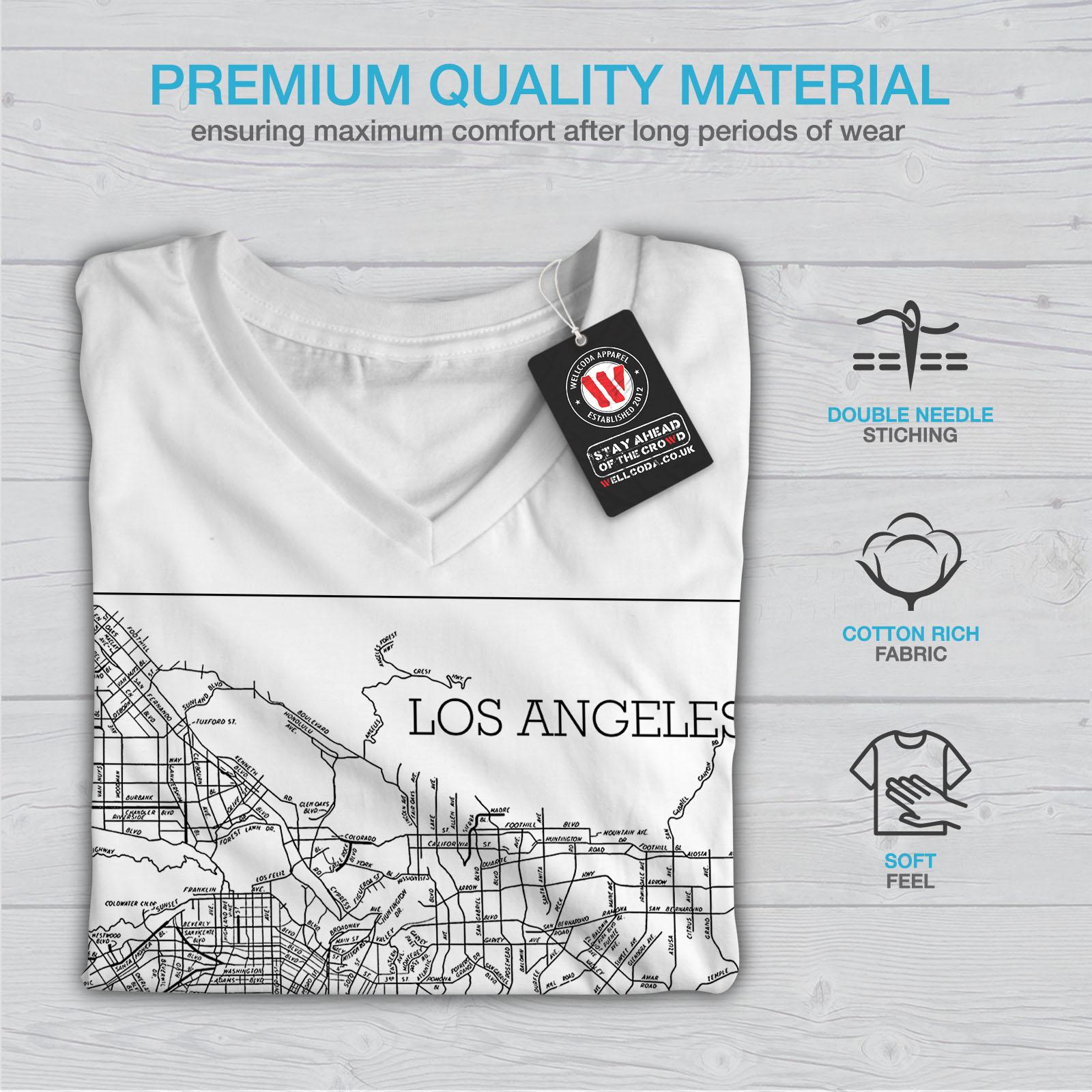 Wellcoda-Los-Angeles-Map-Fashion-Womens-V-Neck-T-shirt-Town-Graphic-Design-Tee thumbnail 9