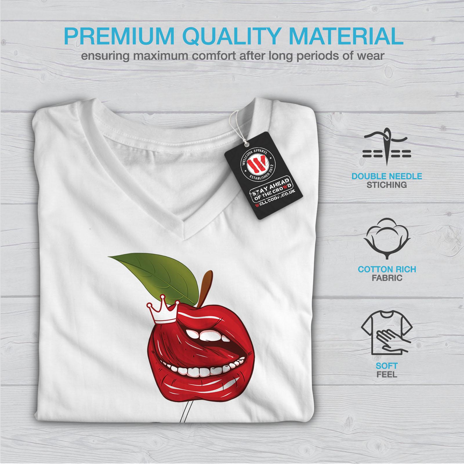 Wellcoda-Lip-Cherry-Cool-Womens-V-Neck-T-shirt-Rock-amp-Roll-Graphic-Design-Tee thumbnail 9