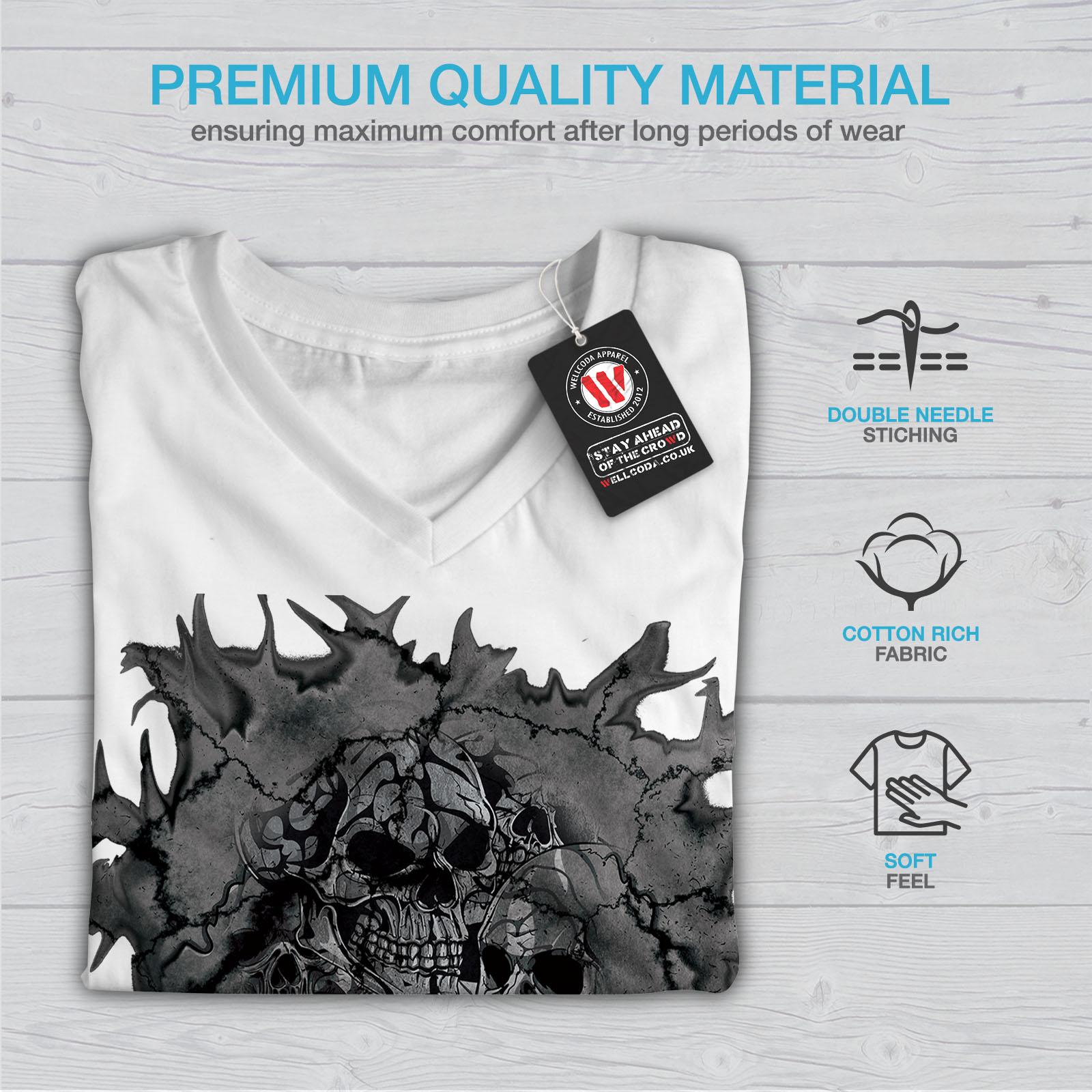 War Graphic Design Tee Wellcoda Death Skull Evil Skelet Womens V-Neck T-shirt