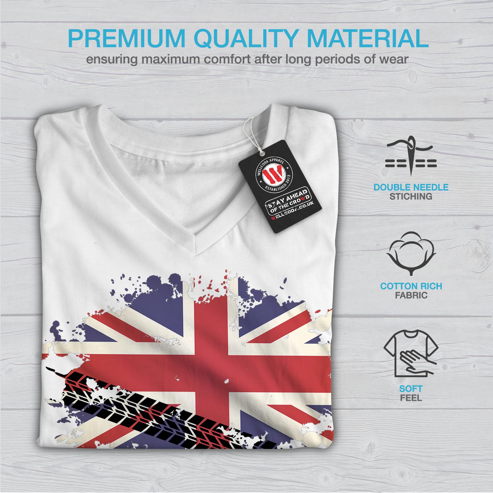 Britain Graphic Design Tee Wellcoda Union Jack Flag Womens V-Neck T-shirt