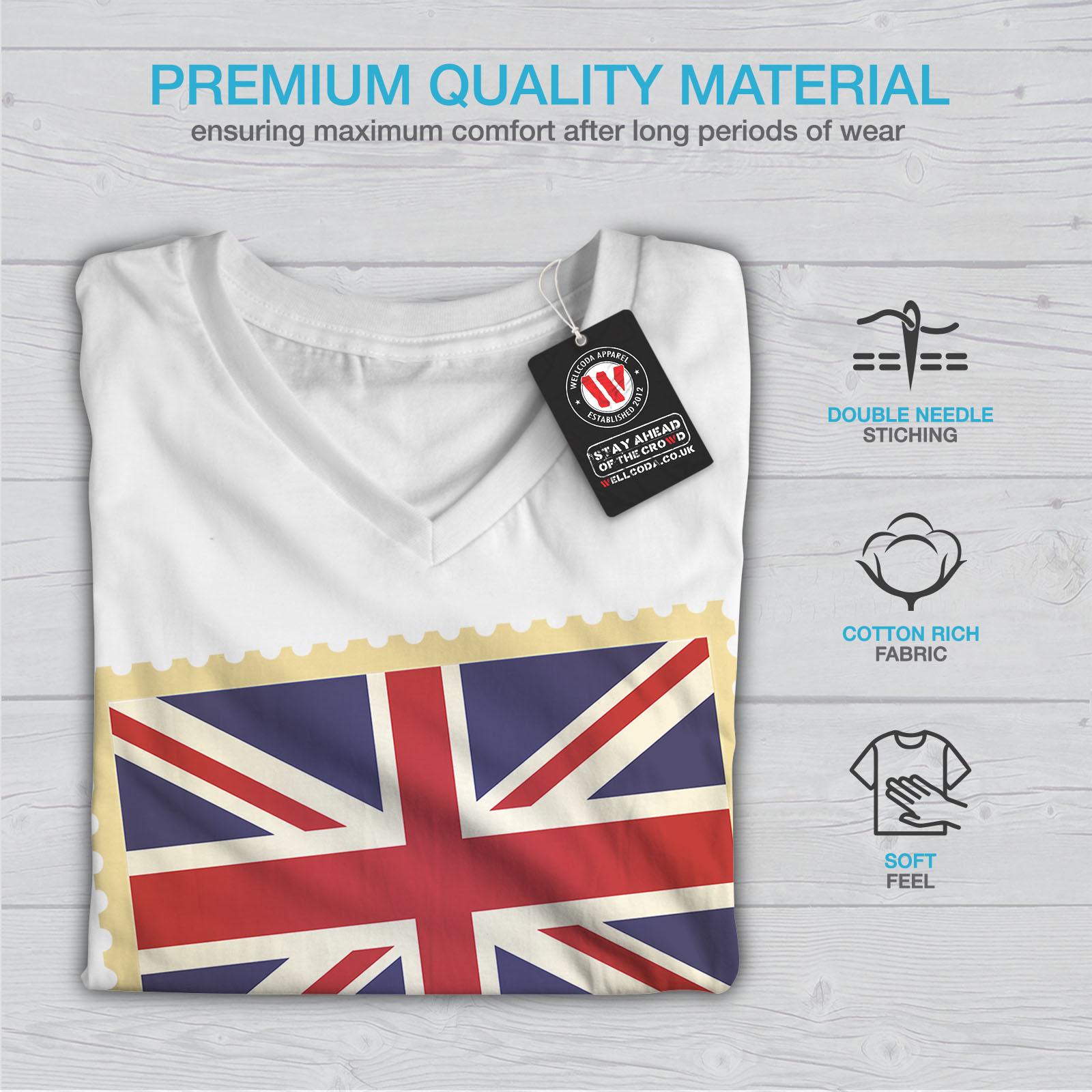 Wellcoda-UK-Flag-Tourist-Womens-V-Neck-T-shirt-England-Graphic-Design-Tee thumbnail 9