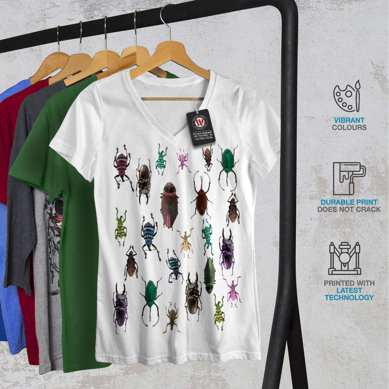 Wellcoda-Colored-Bugs-Womens-V-Neck-T-shirt-Pattern-Graphic-Design-Tee thumbnail 8