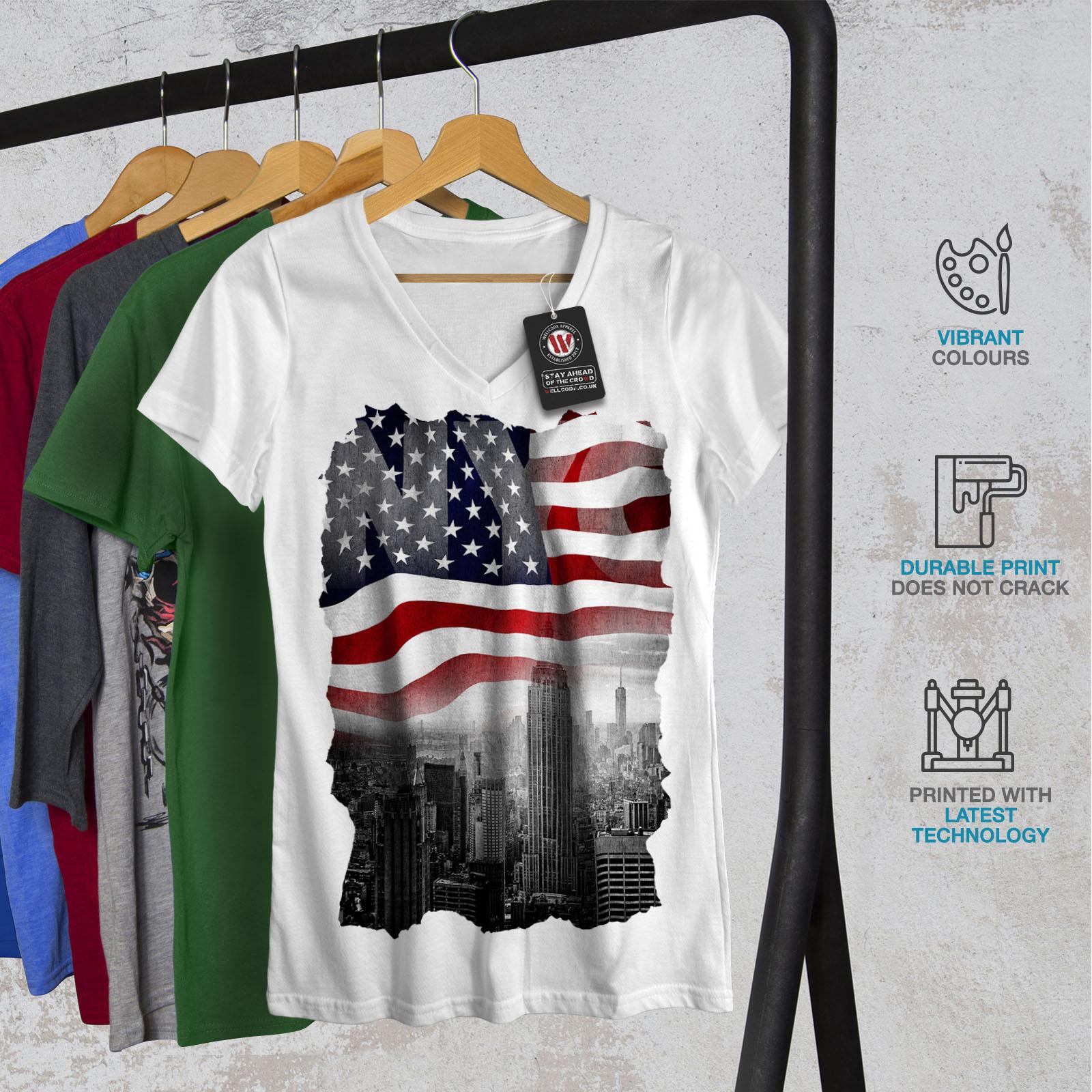 Wellcoda-New-York-City-Flag-Womens-V-Neck-T-shirt-NY-Graphic-Design-Tee thumbnail 8
