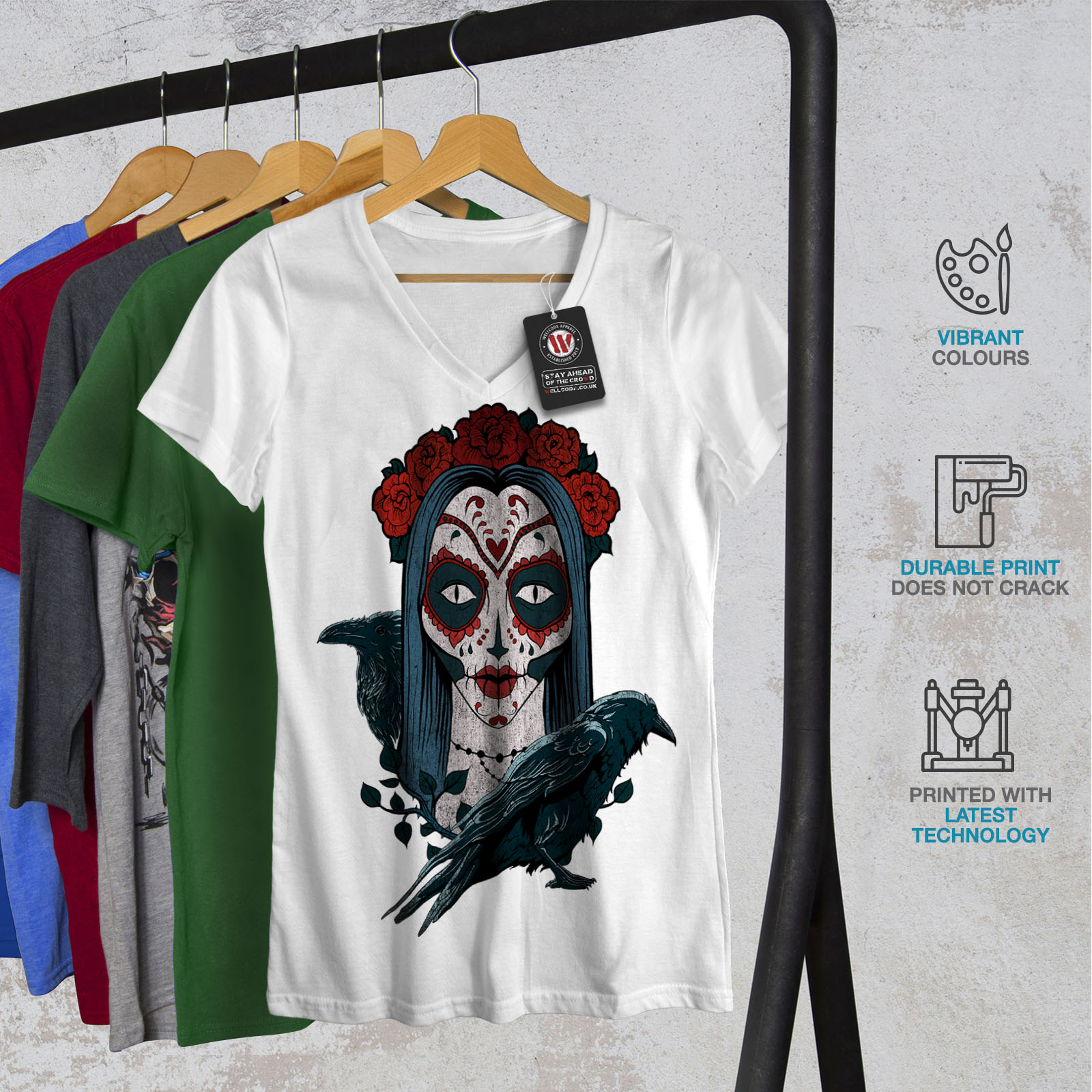 Scary Graphic Design Tee Wellcoda Beautiful Roses Girl Womens V-Neck T-shirt