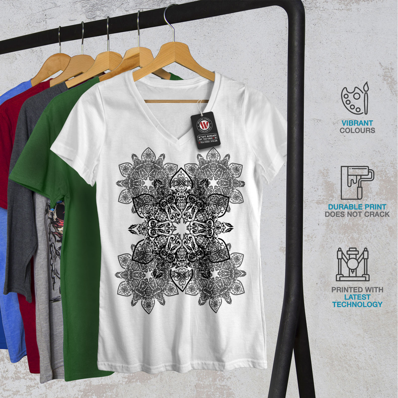 Ornament Graphic Design Tee Wellcoda Indian Style Womens V-Neck T-shirt