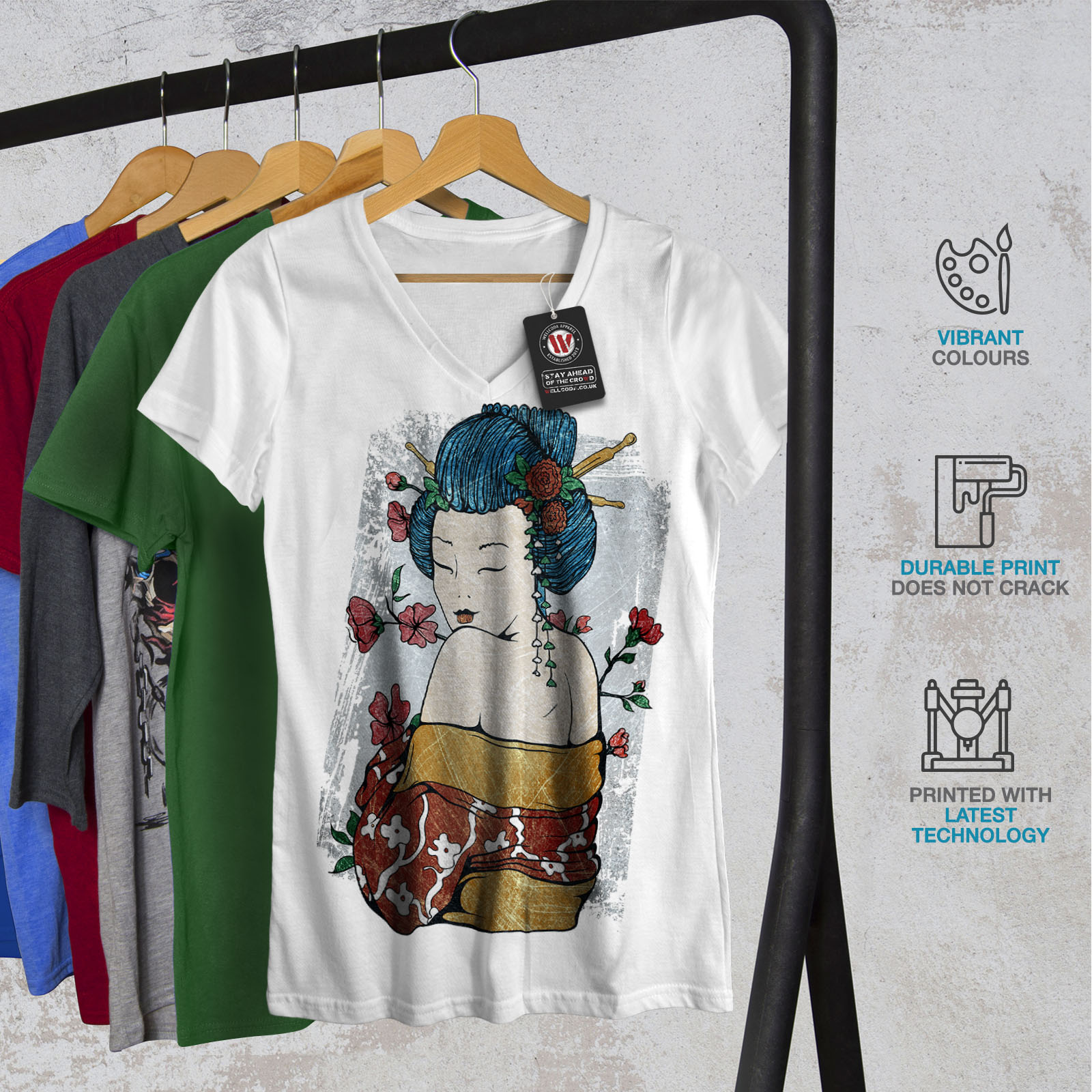 Wellcoda-Japan-Woman-Beauty-Womens-V-Neck-T-shirt-Oriental-Graphic-Design-Tee thumbnail 8
