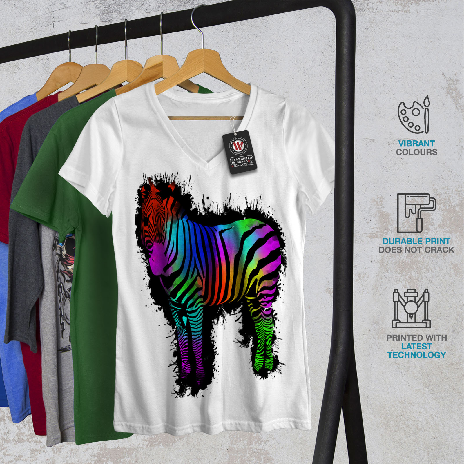 Color Graphic Design Tee Wellcoda Wild Rainbow Zebra Womens V-Neck T-shirt