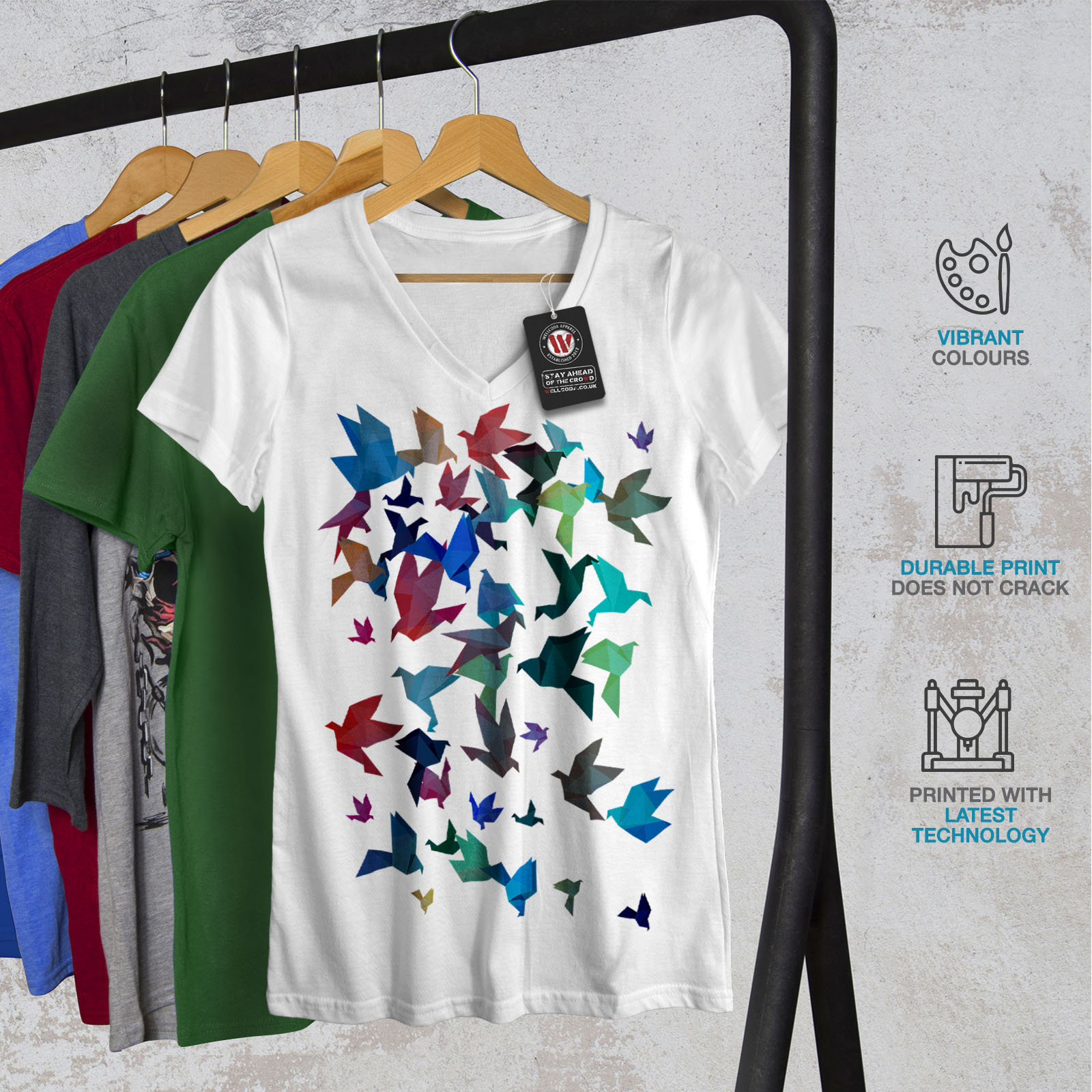 Wellcoda-Origami-Bird-Colors-Womens-V-Neck-T-shirt-Craft-Graphic-Design-Tee thumbnail 8