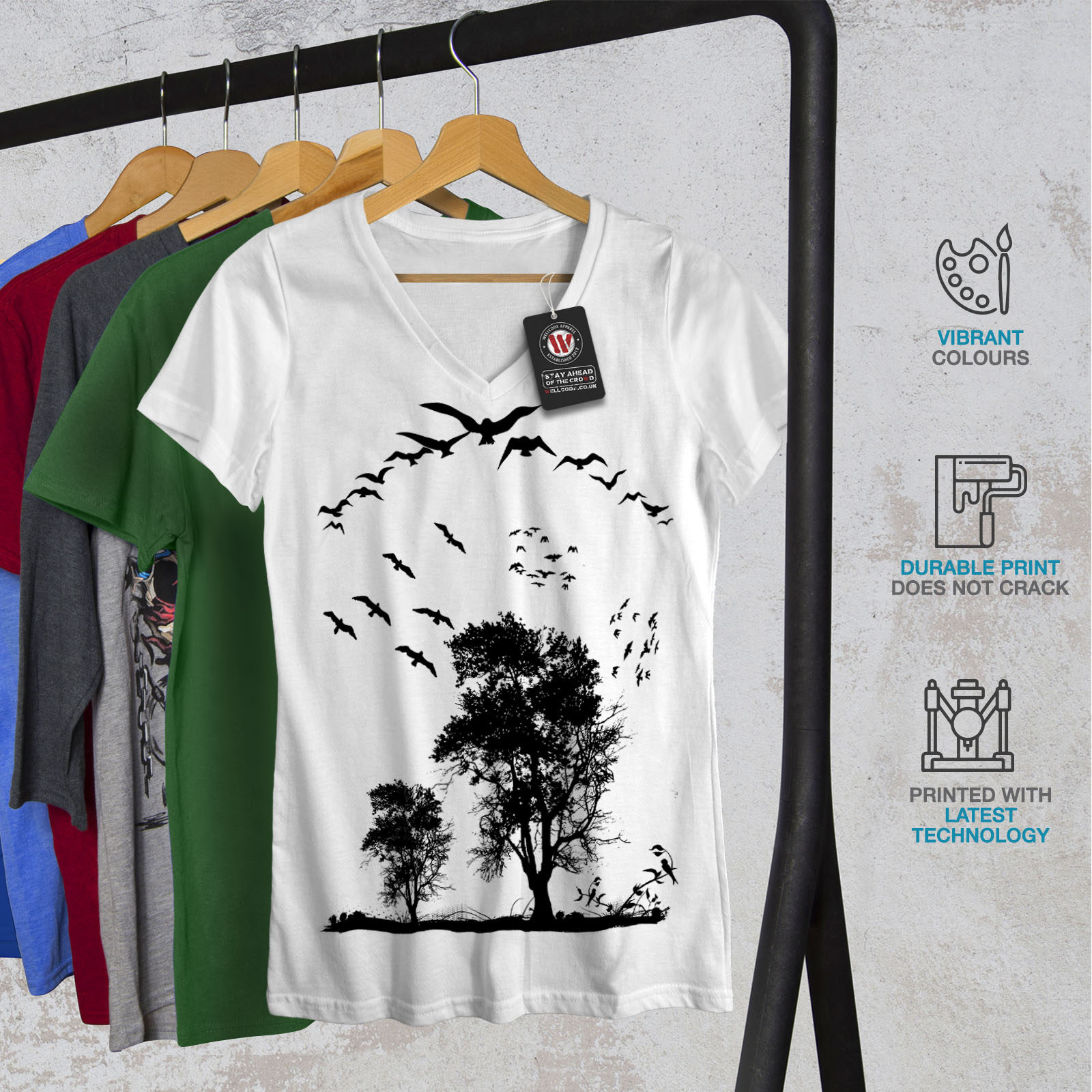 thumbnail 8 - Wellcoda-Bird-Freedom-Fly-Womens-V-Neck-T-shirt-Nature-Graphic-Design-Tee
