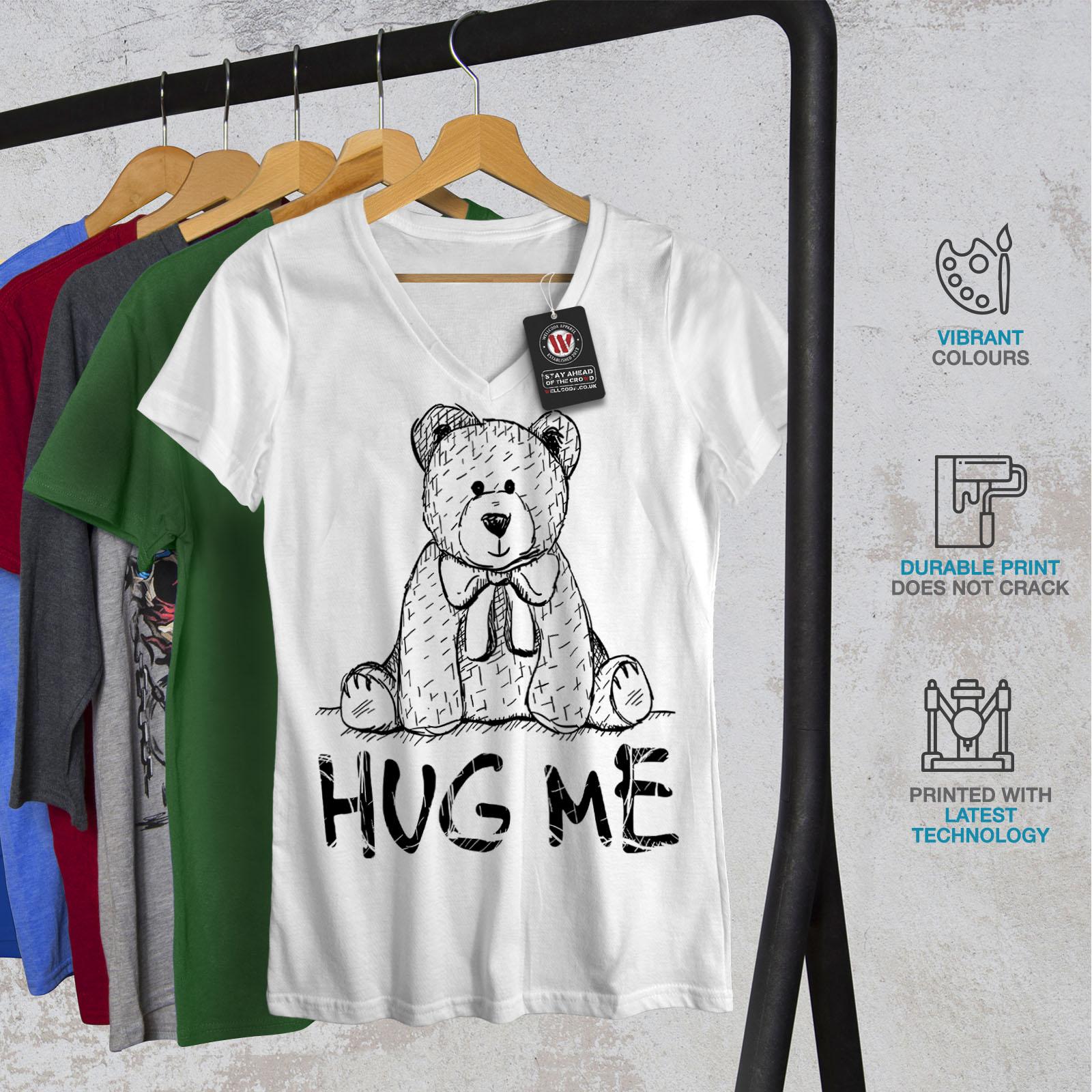 miniature 8 - Wellcoda Hug Me Teddy Bear Womens V-Neck T-shirt, Nice & Graphic Design Tee