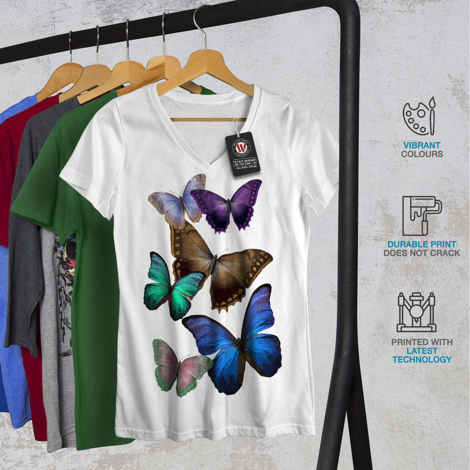 Wellcoda-Butterfly-Multicolor-Womens-V-Neck-T-shirt-Spring-Graphic-Design-Tee thumbnail 8