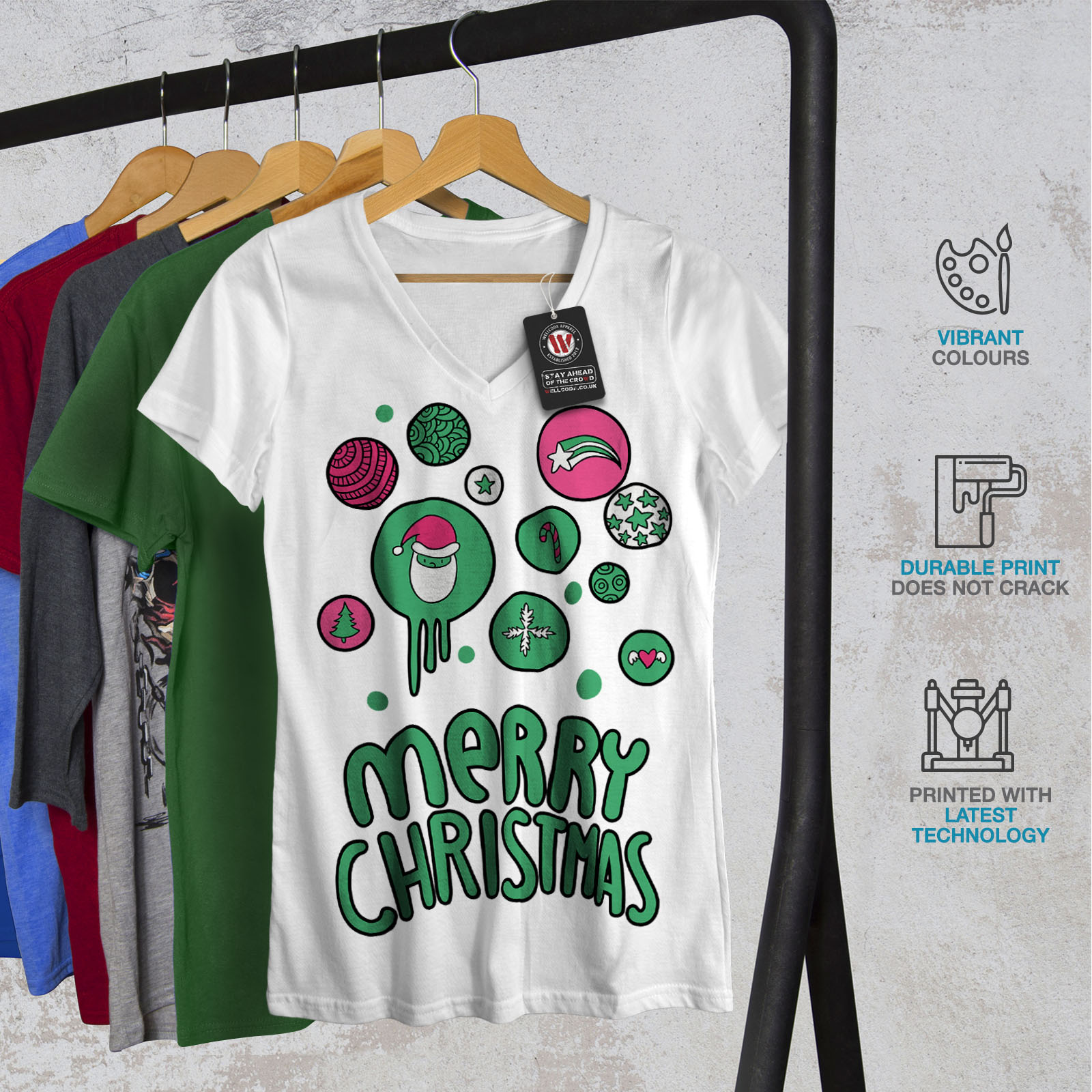Wellcoda-Merry-Christmas-Fun-Womens-V-Neck-T-shirt-Holiday-Graphic-Design-Tee thumbnail 8