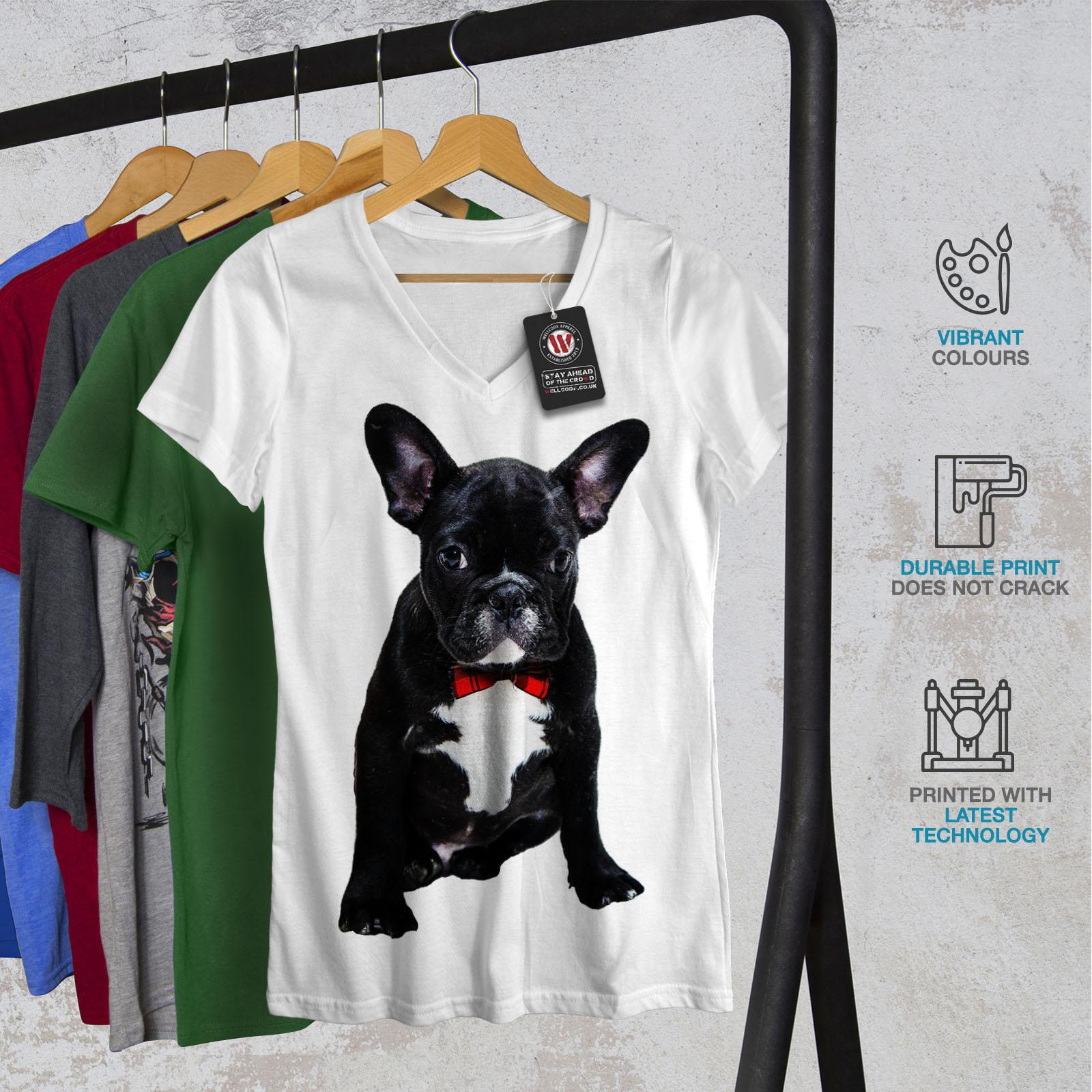 Wellcoda-Fancy-French-Bulldog-Womens-V-Neck-T-shirt-Black-Graphic-Design-Tee thumbnail 8