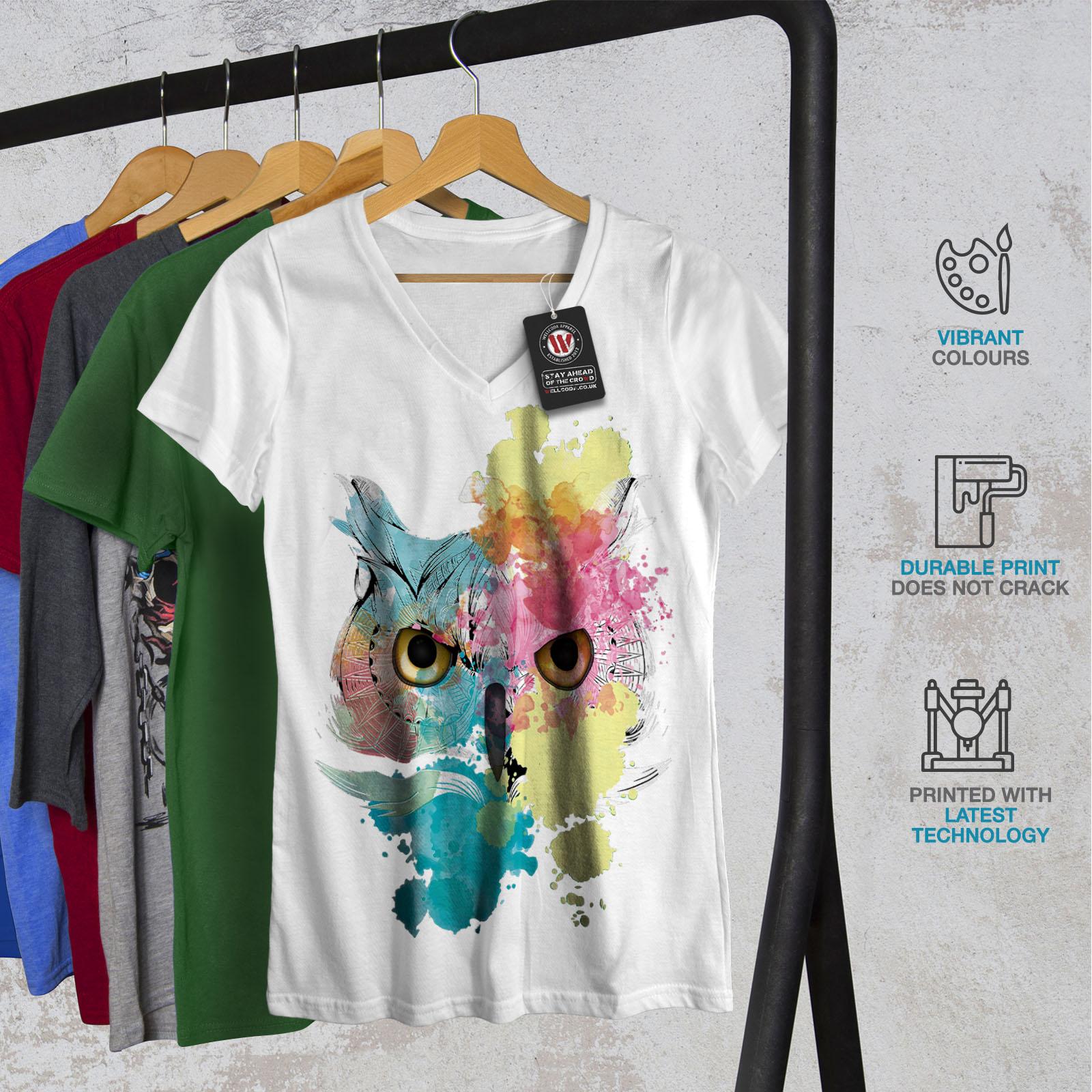 Wellcoda-Elegante-Owl-Bird-da-donna-V-Neck-T-shirt-bellissimo-design-Grafico-Tee miniatura 8