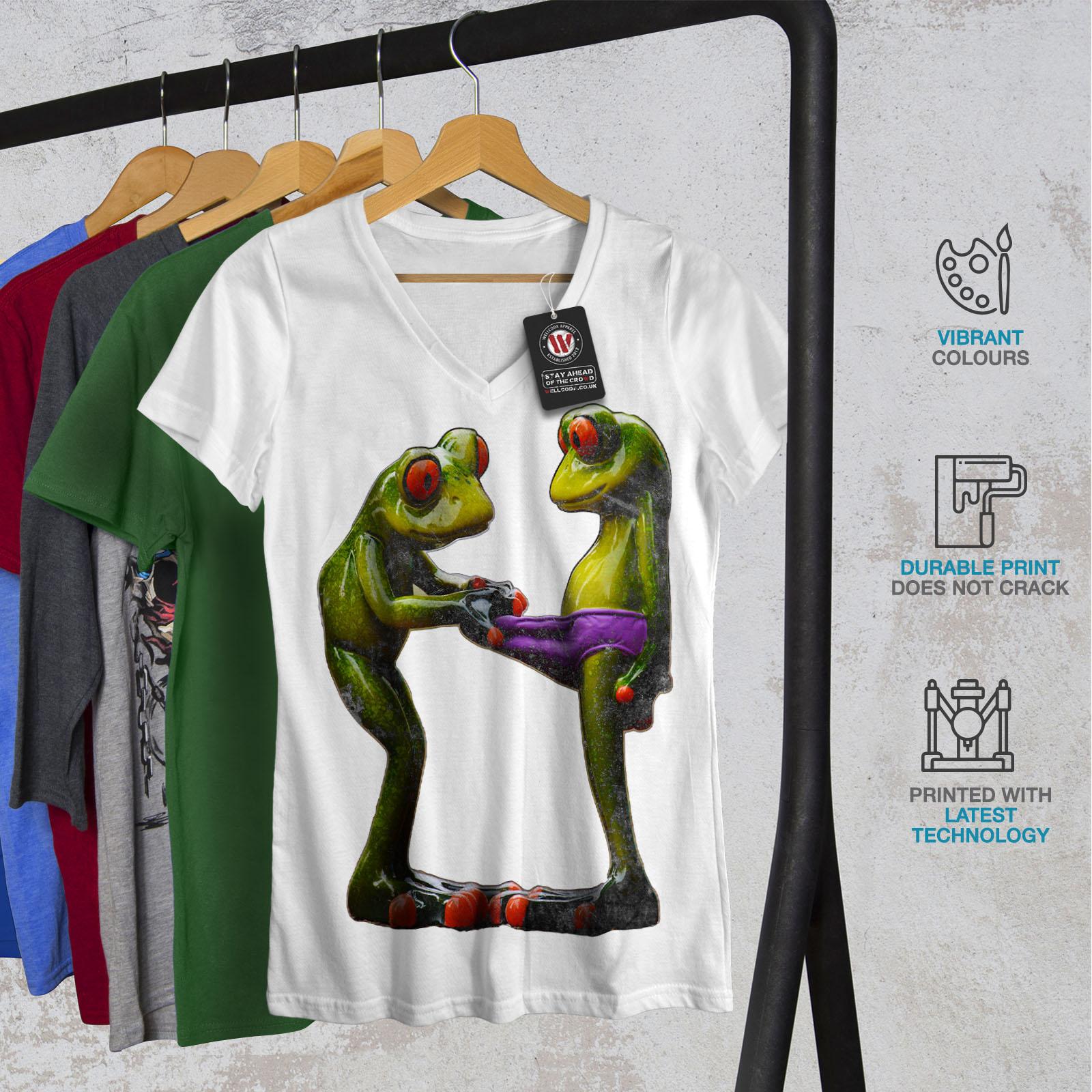 Wellcoda-RANE-Cool-scherzo-da-Donna-V-Neck-T-shirt-Biancheria-Intima-Design-Grafico-Tee miniatura 8