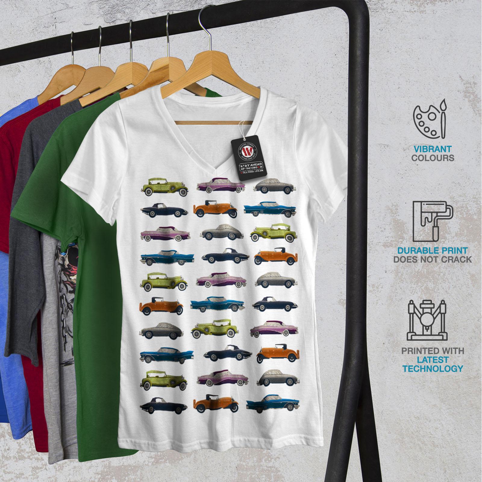 Wellcoda-Classic-Old-Pattern-Car-Womens-V-Neck-T-shirt-Retro-Graphic-Design-Tee thumbnail 8