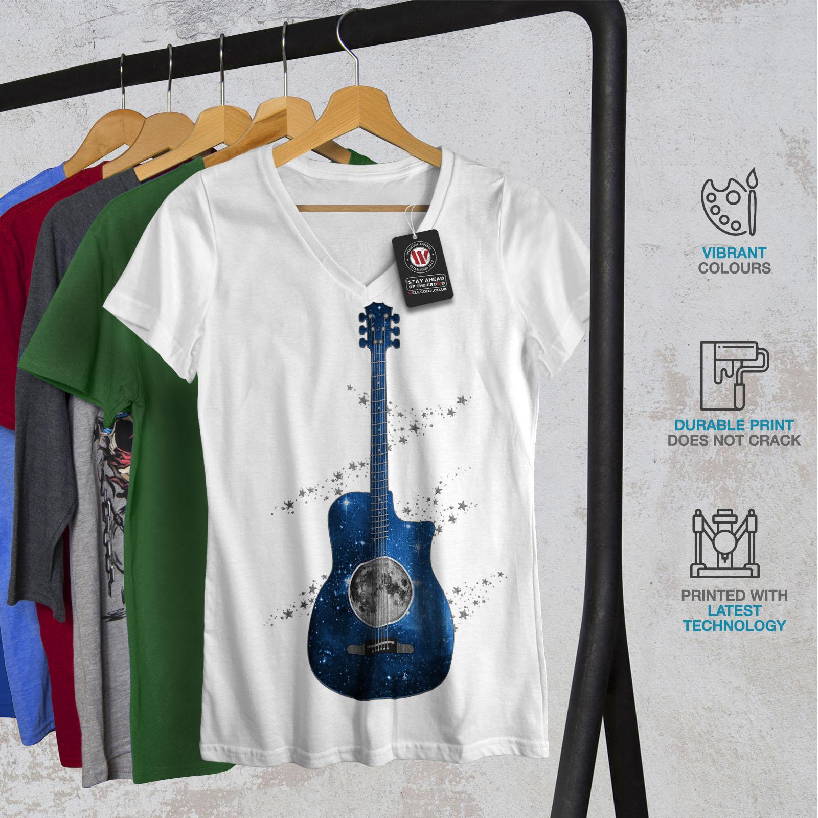 Wellcoda-Guitar-Planet-Earth-Womens-V-Neck-T-shirt-Rock-Graphic-Design-Tee thumbnail 8