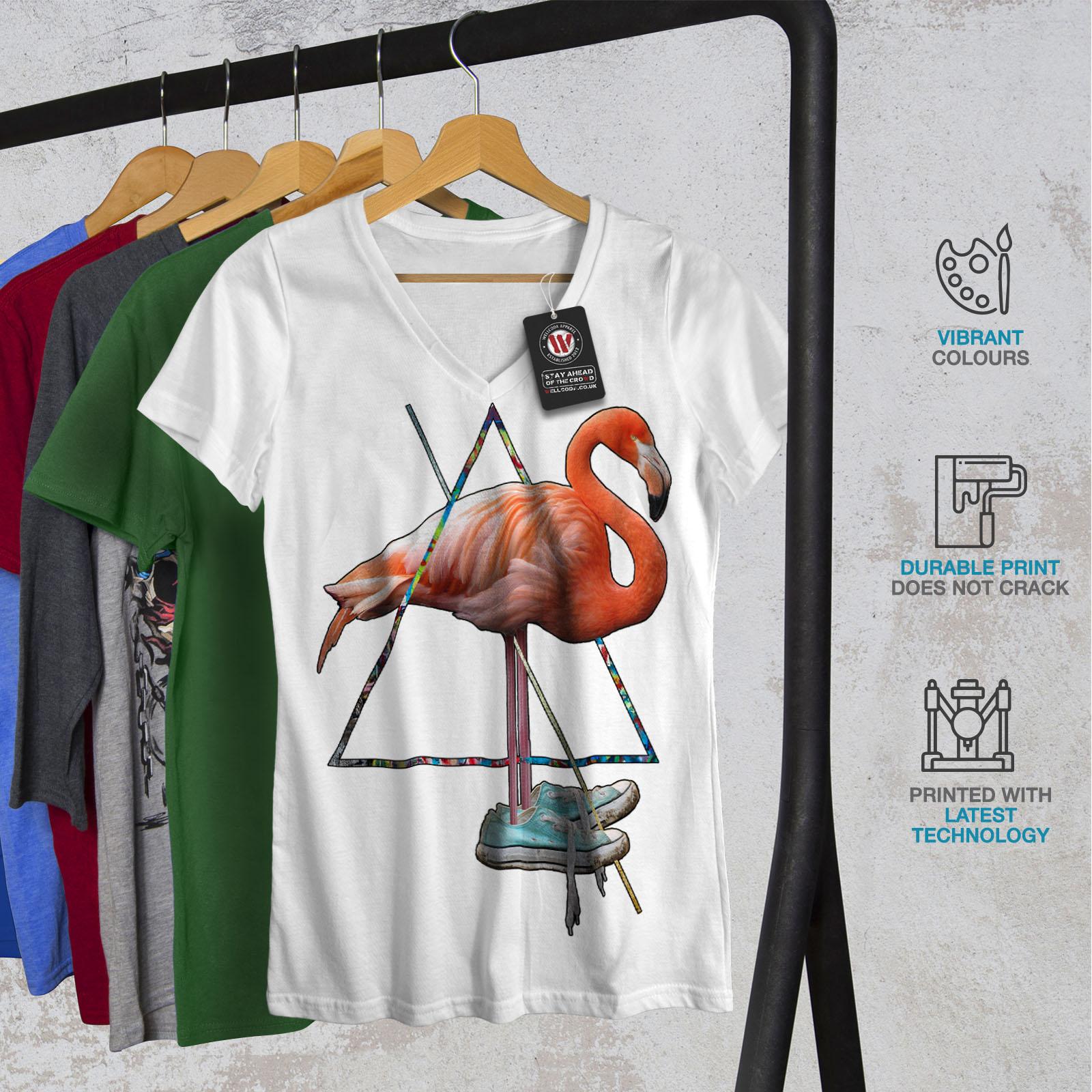 Wellcoda-Flamingo-Bird-Shoe-Womens-V-Neck-T-shirt-Sneaker-Graphic-Design-Tee thumbnail 8