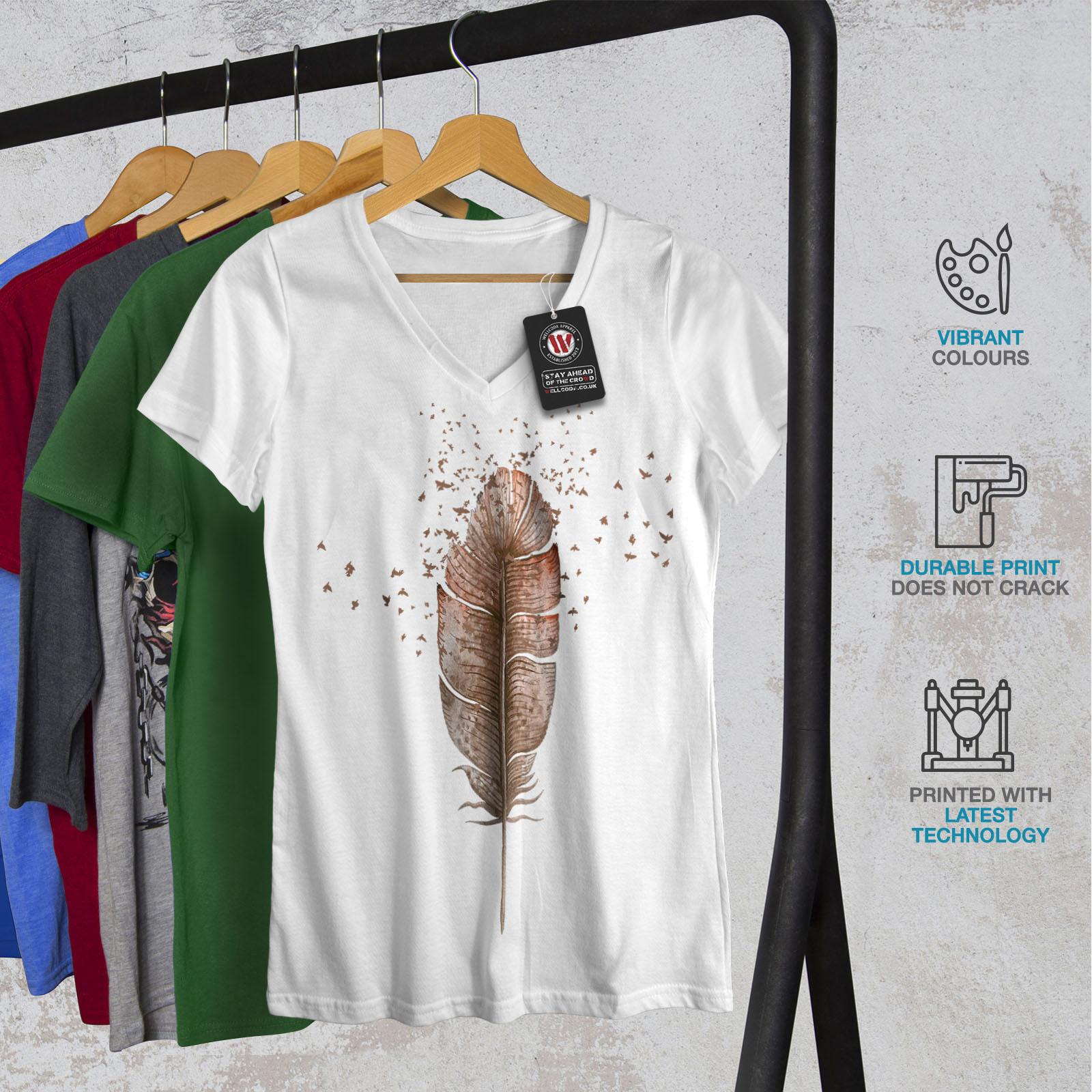 Wellcoda-Soft-Bird-Feather-Womens-V-Neck-T-shirt-Delicate-Graphic-Design-Tee thumbnail 8