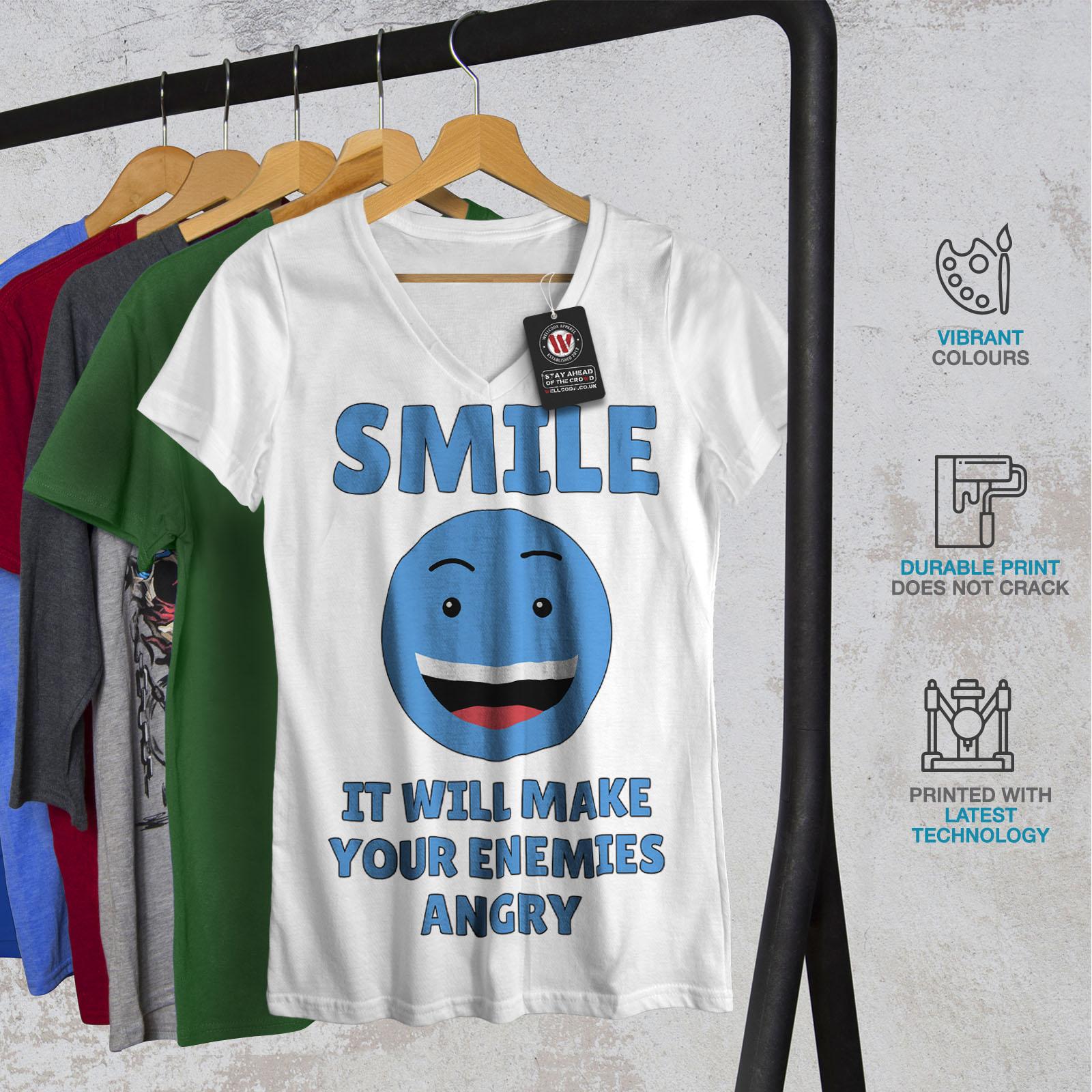 Wellcoda-Laecheln-Feinde-Angry-Damen-V-Ausschnitt-T-Shirt-Kampf-Grafikdesign-Tee Indexbild 8