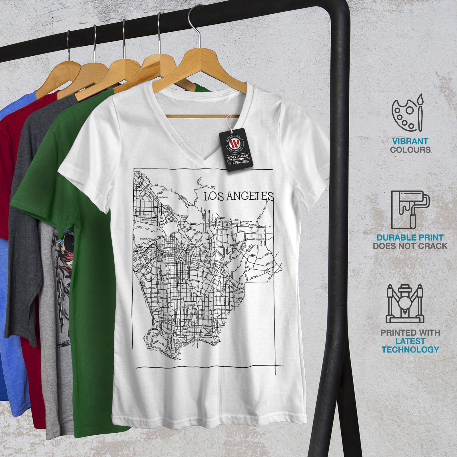 Wellcoda-Los-Angeles-Map-Fashion-Womens-V-Neck-T-shirt-Town-Graphic-Design-Tee thumbnail 8