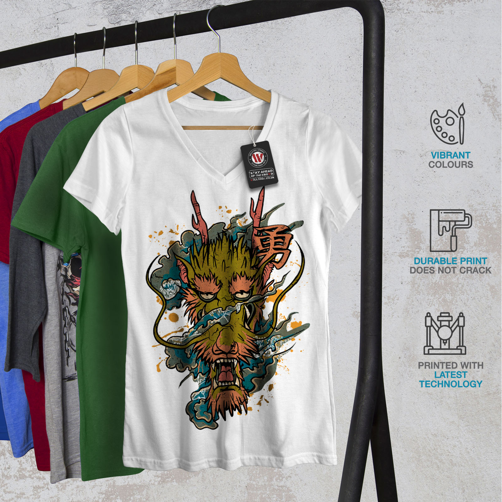 Wellcoda Dragon Asian Myth Mens Long Sleeve T-shirt Evil Graphic Design