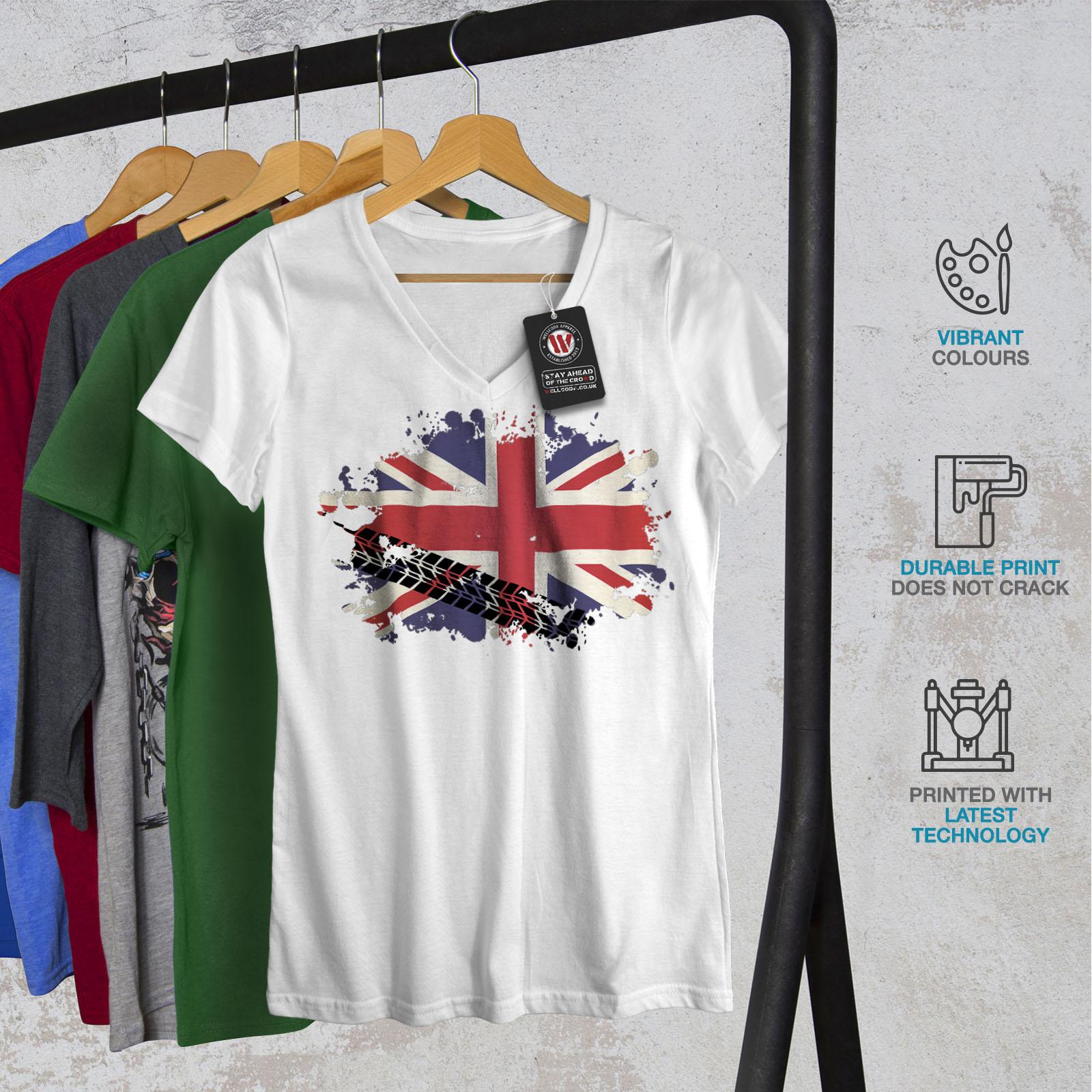 Wellcoda-Union-Jack-Drapeau-Femme-T-Shirt-col-V-la-Grande-Bretagne-conception-graphique-Tee miniature 8