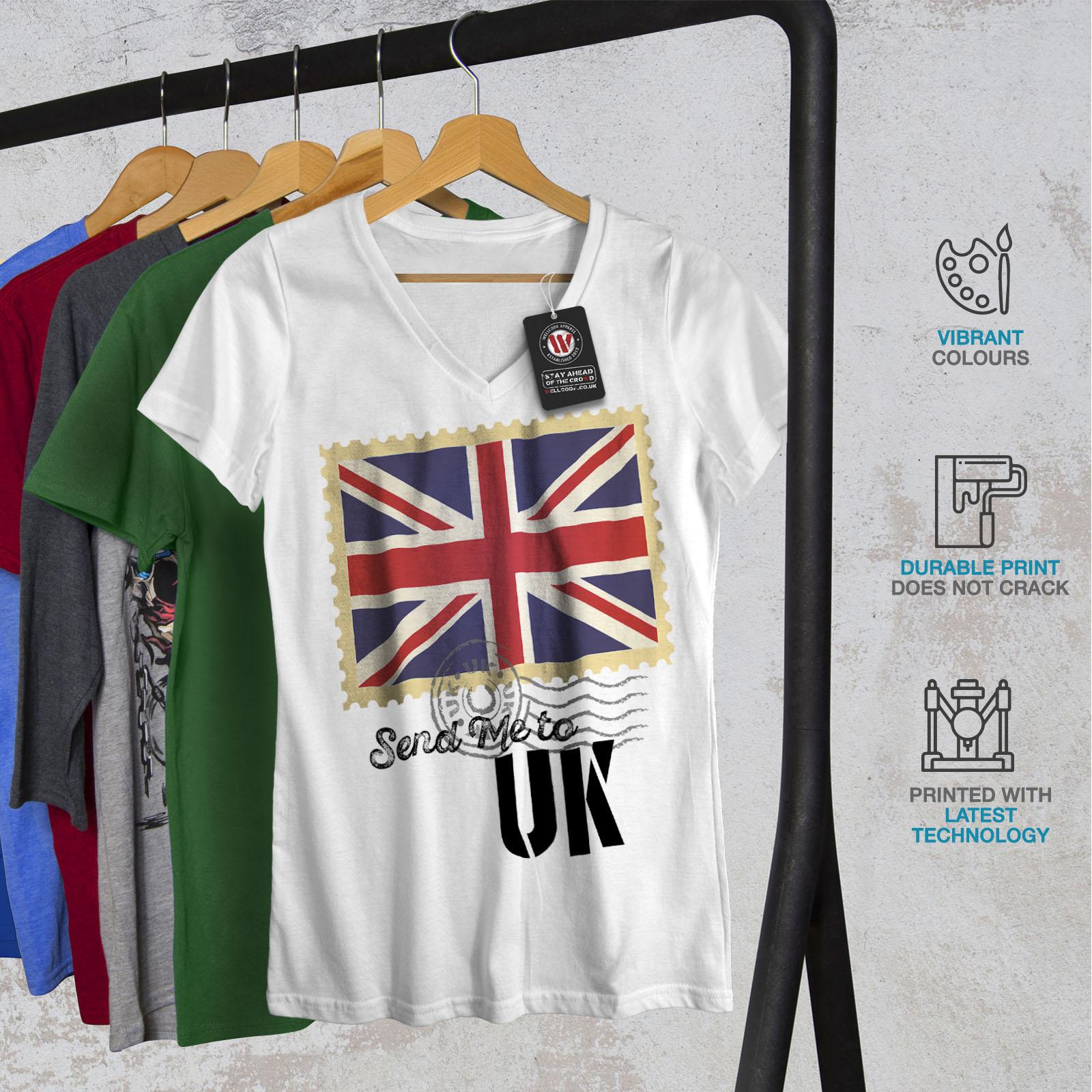 Wellcoda-UK-Flag-Tourist-Womens-V-Neck-T-shirt-England-Graphic-Design-Tee thumbnail 8