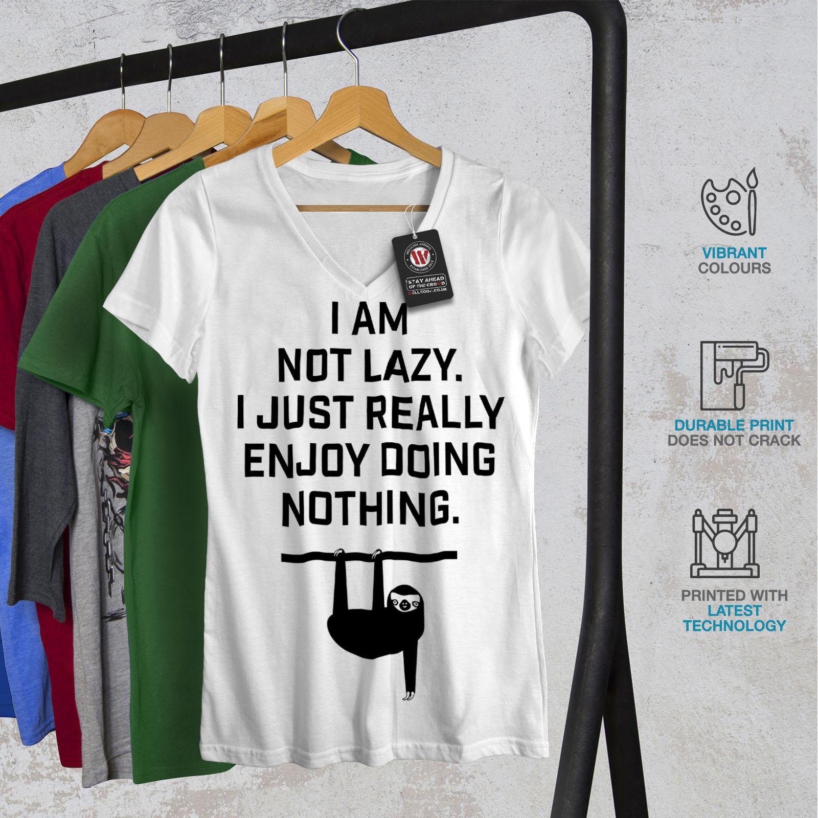 Wellcoda-Sloth-Lazy-Joke-Funny-Womens-V-Neck-T-shirt-Monkey-Graphic-Design-Tee thumbnail 8
