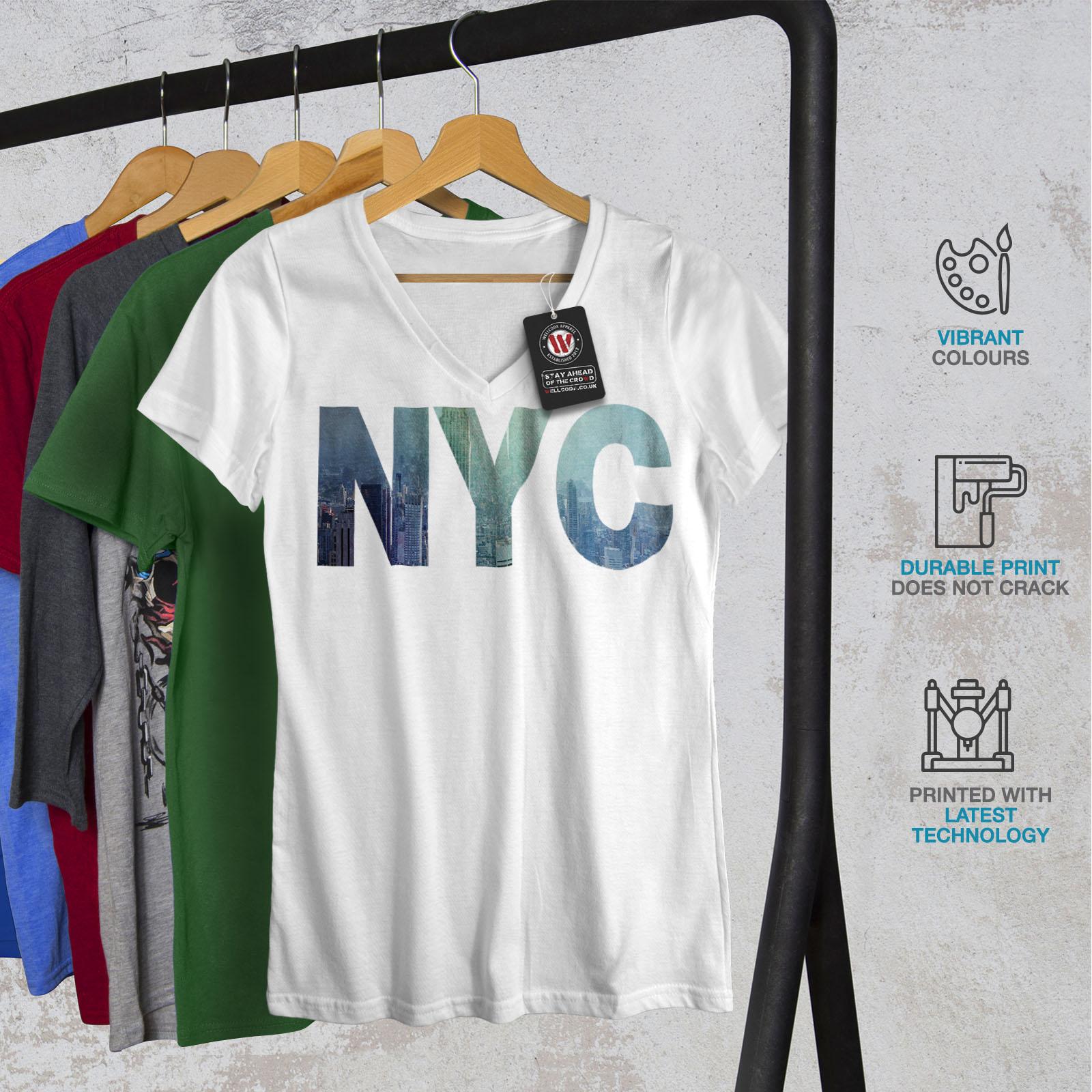 Wellcoda NY Photo New York USA Womens V-Neck T-shirt USA Graphic Design Tee