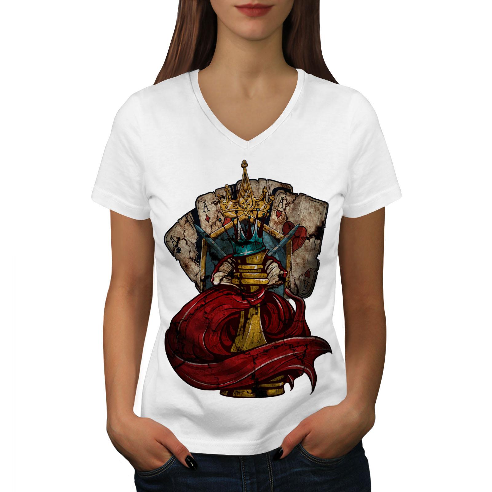 Queen Graphic Design Tee Wellcoda Chess Poker Card Gamble Womens V-Neck T-shirt